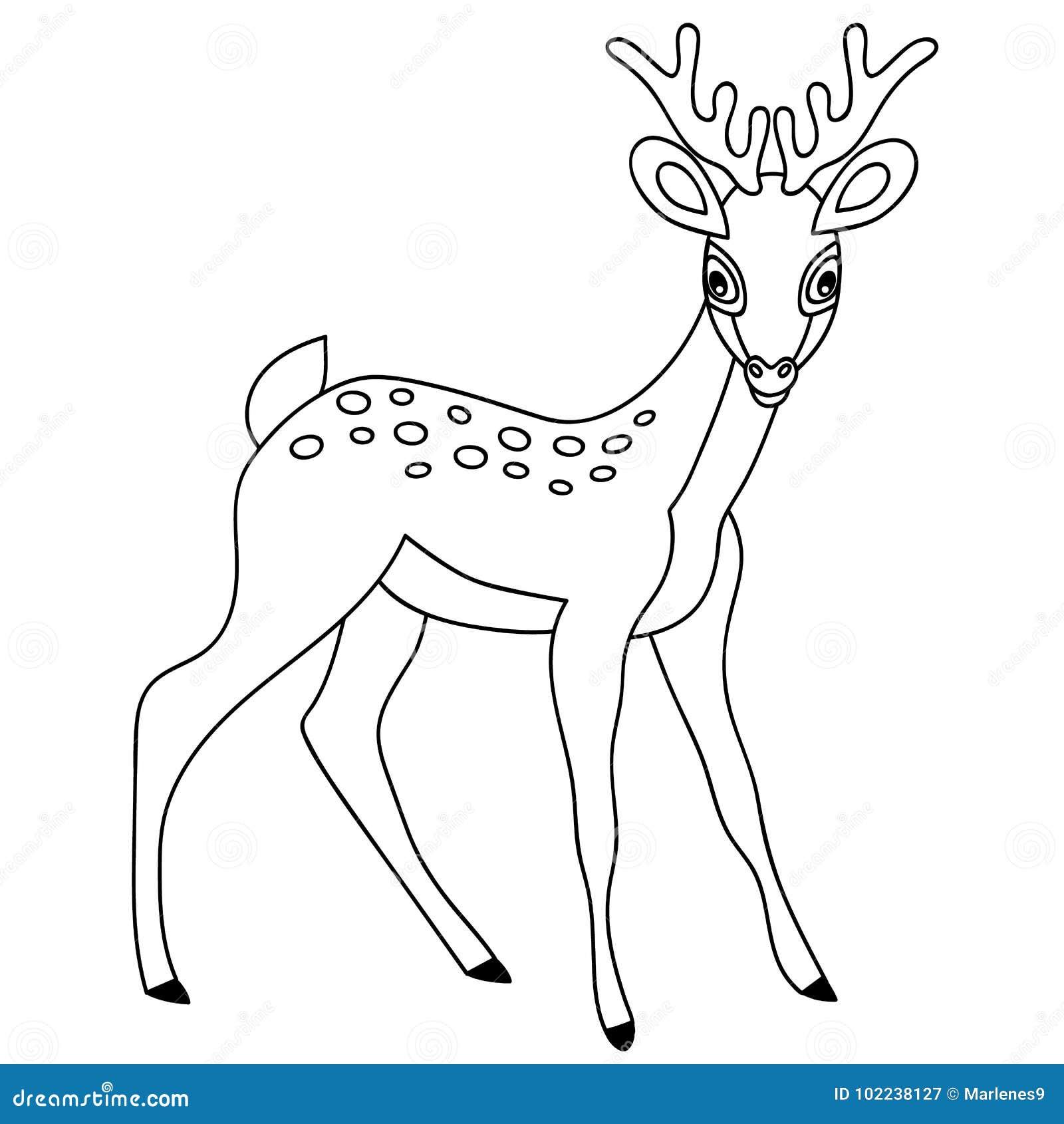 Deer illustration black and white - photo#42