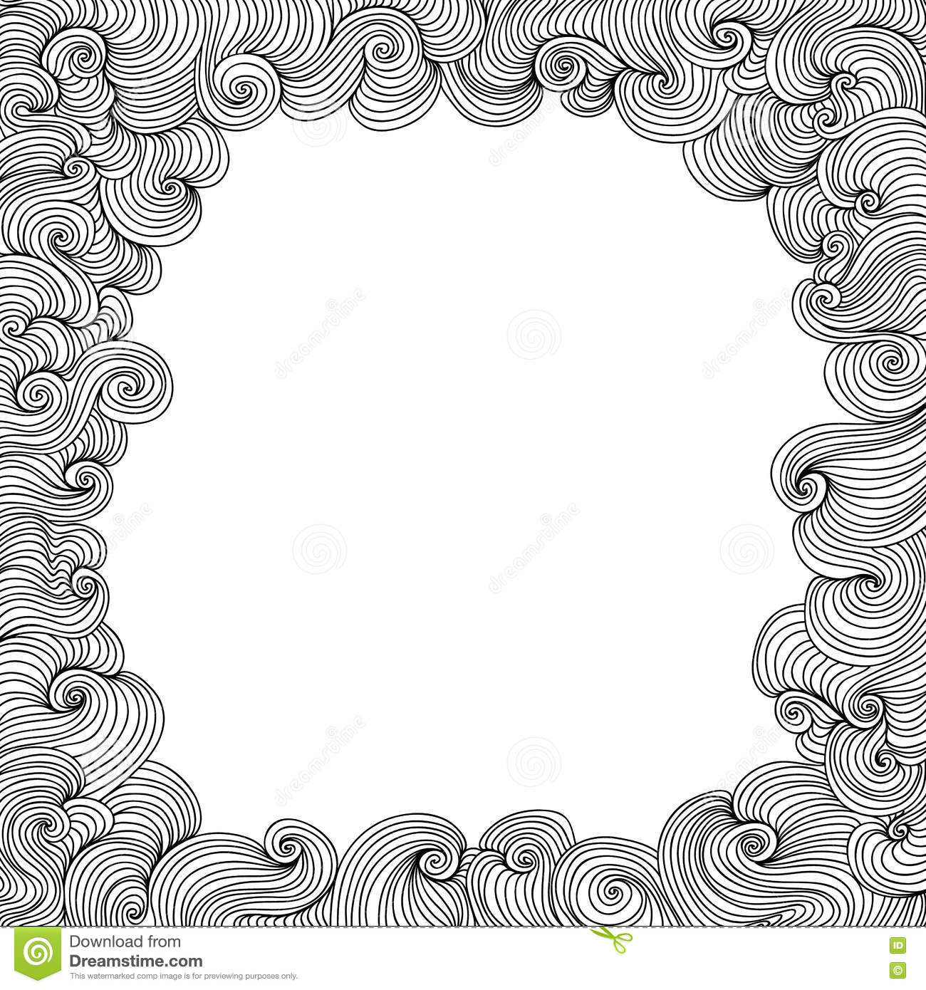 Vector black and white figured frame with curling lines