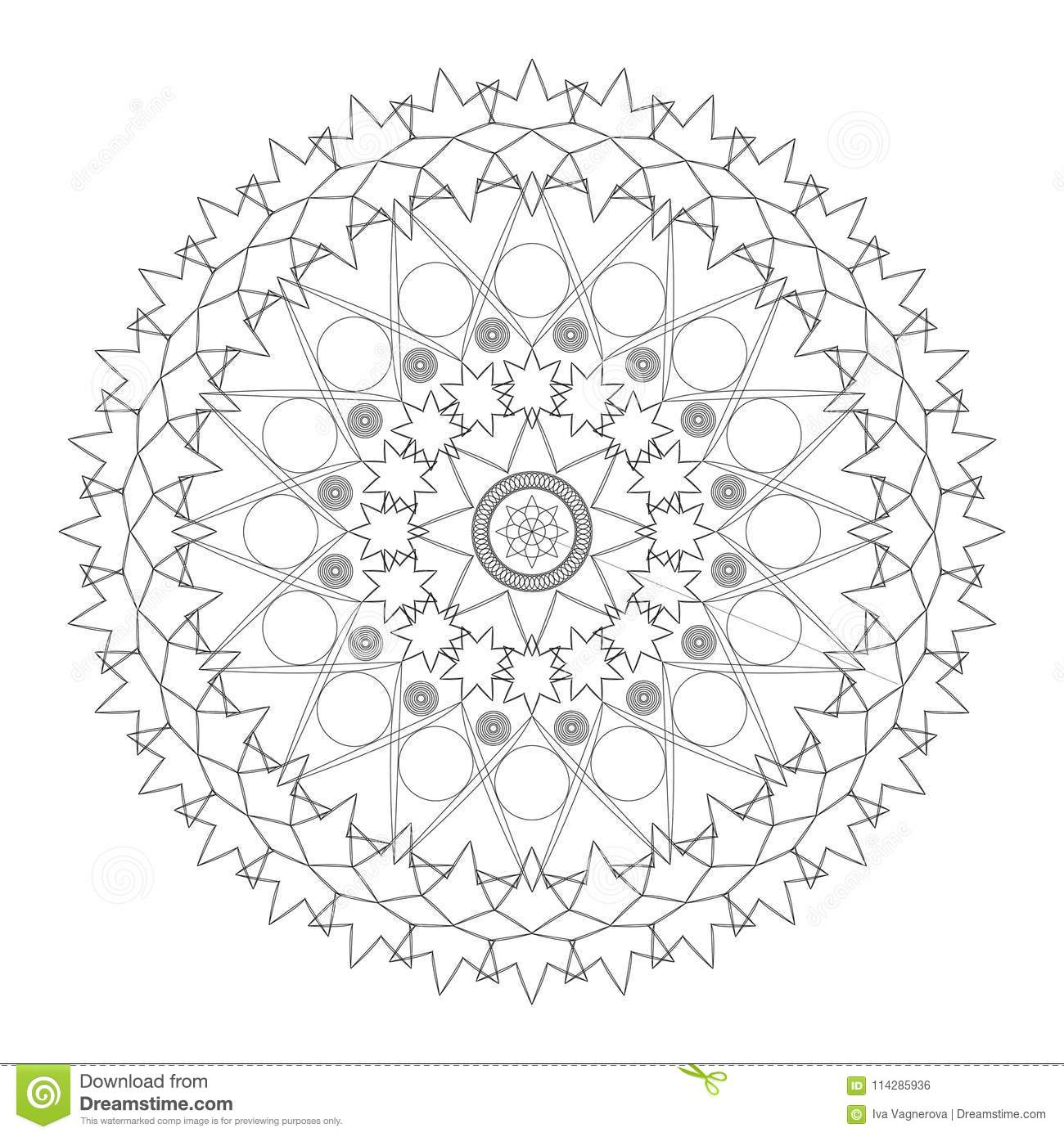 Vector Black And White Flower Mandala Composed With Flowers Circles