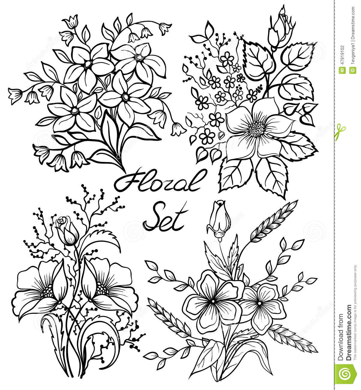 Vector black and white flowers set floral collection with leaves download comp mightylinksfo