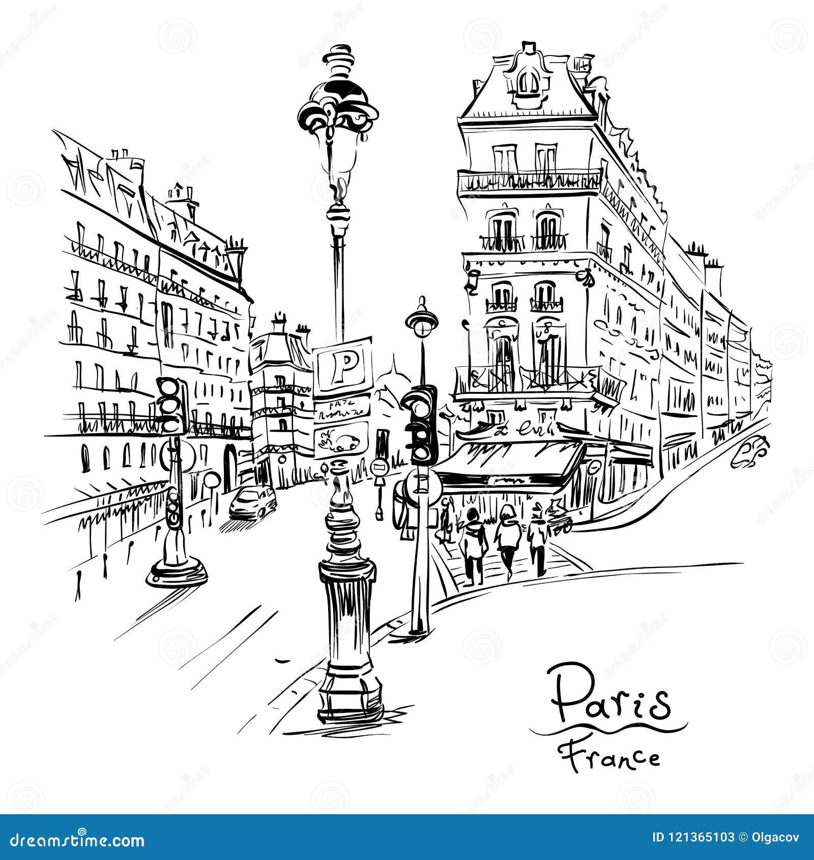 Cozy Paris Street France Stock Vector Illustration Of Modernity 121365103