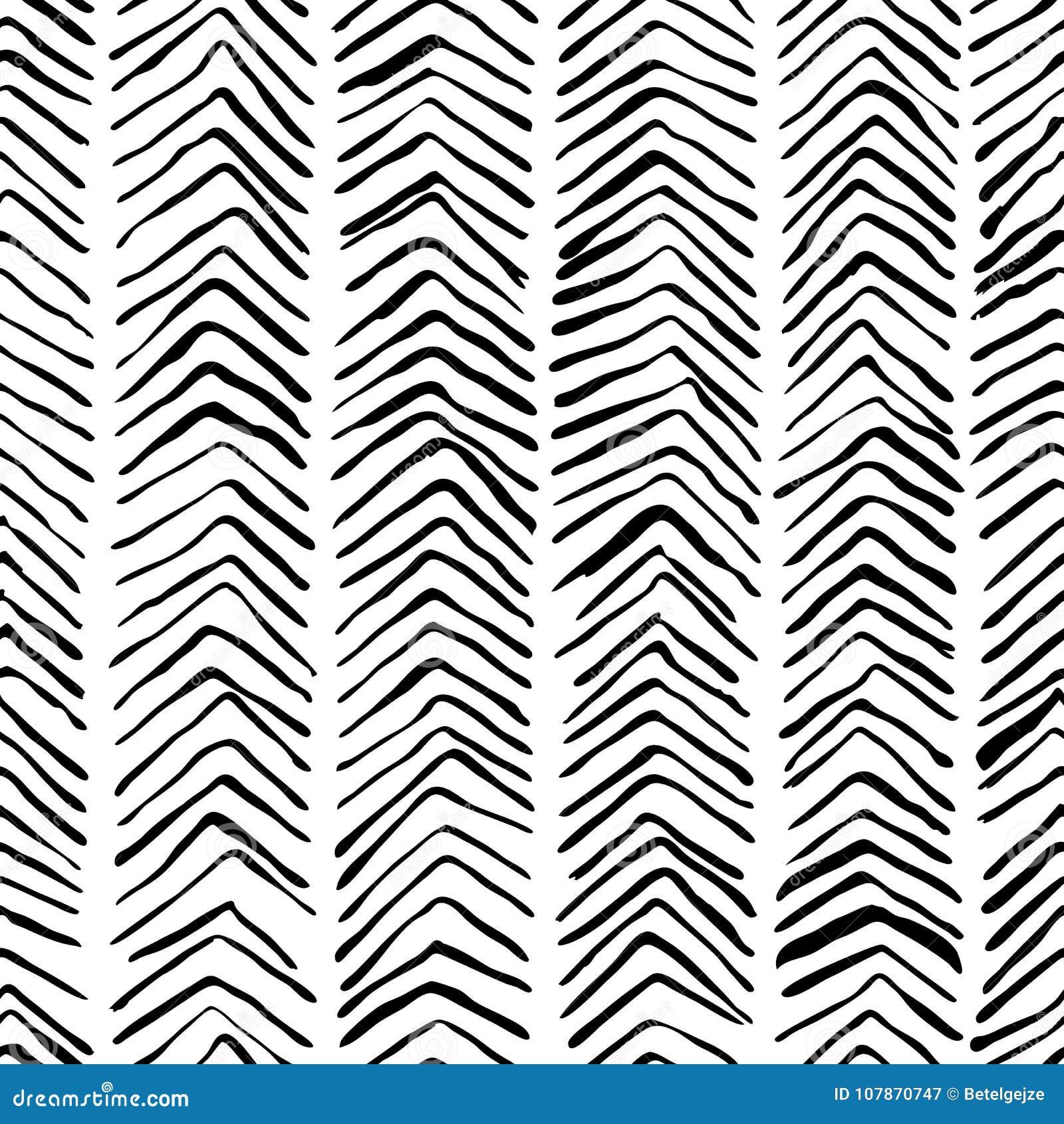 Vector Black White Herringbone Seamless Pattern Watercolor Ink Background Scandinavian Design Fashion Textile Print Stock Vector Illustration Of Hand Cover 107870747