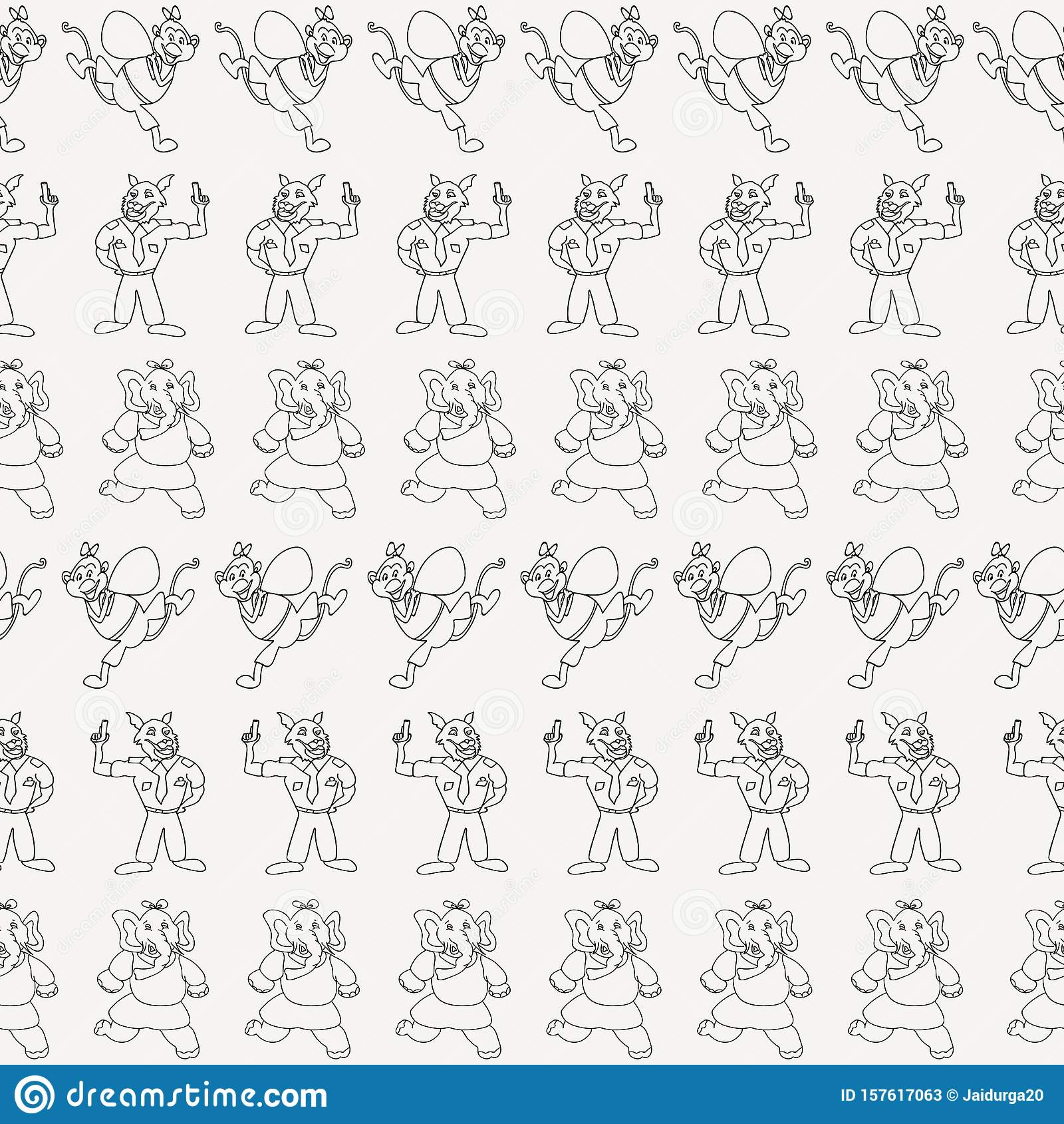 Vector black and white horizontal anthropomorphic cartoon characters seamless pattern background