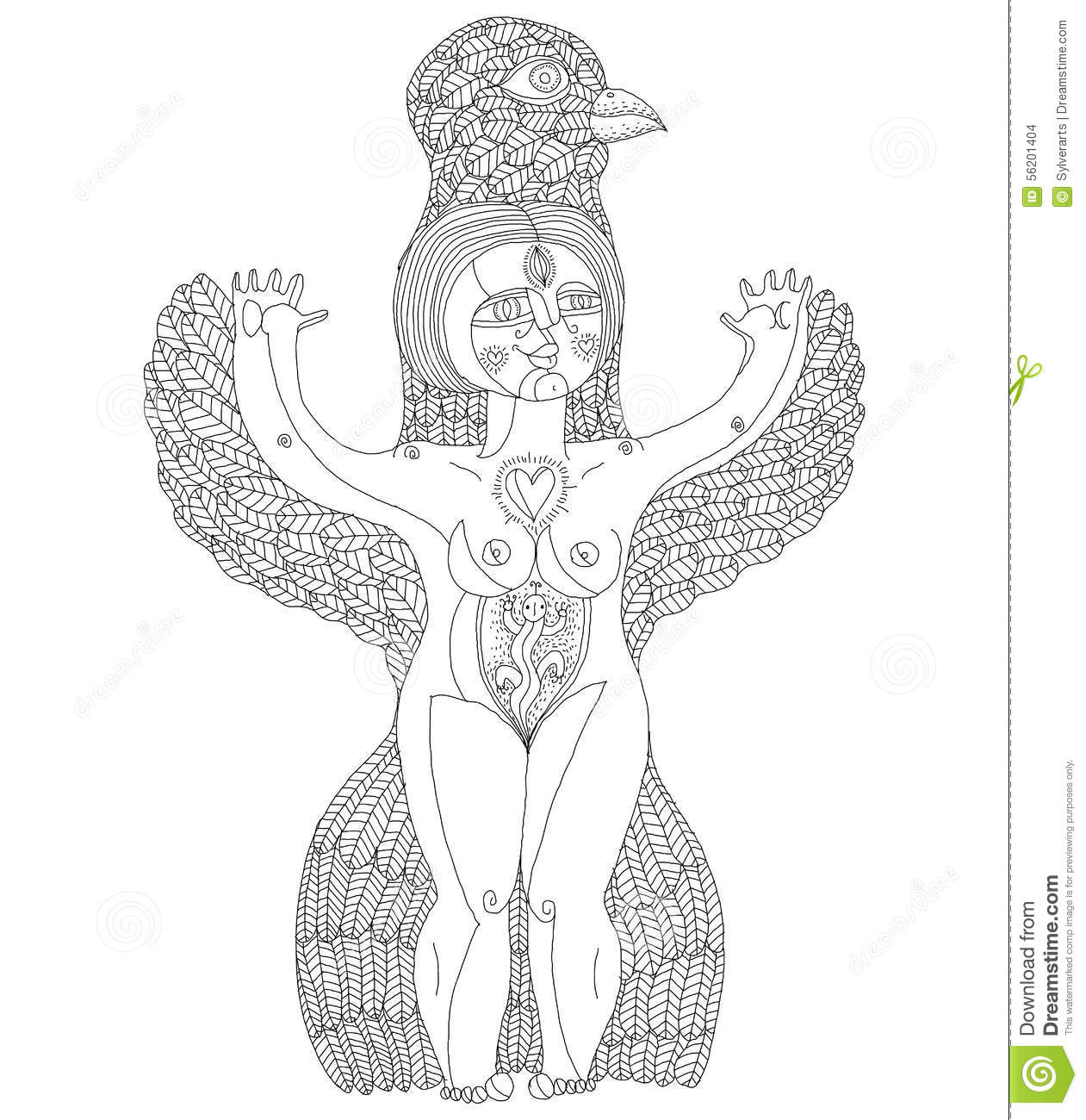 Vector black and white illustration of weird creature, nude woman with  wings, animal side of human being. Goddess conceptual hand drawn allegory  image.