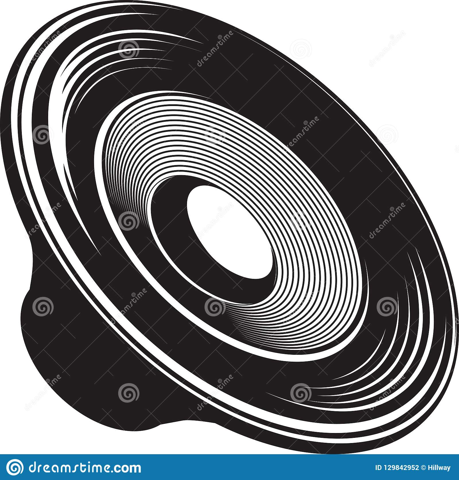Black and white isolated illustration of speaker acoustic device
