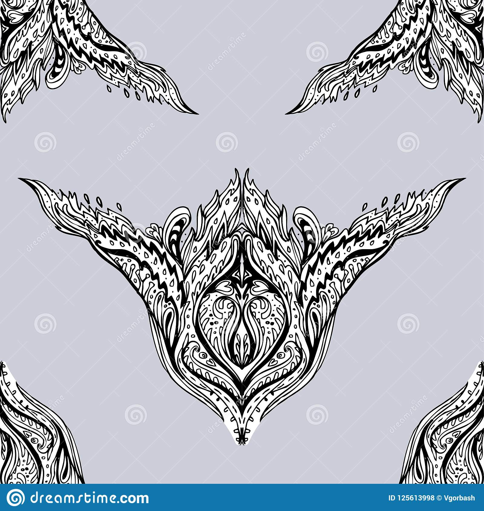 Vector Black And White Ornamental Lotus Bohemian Floral Paisley