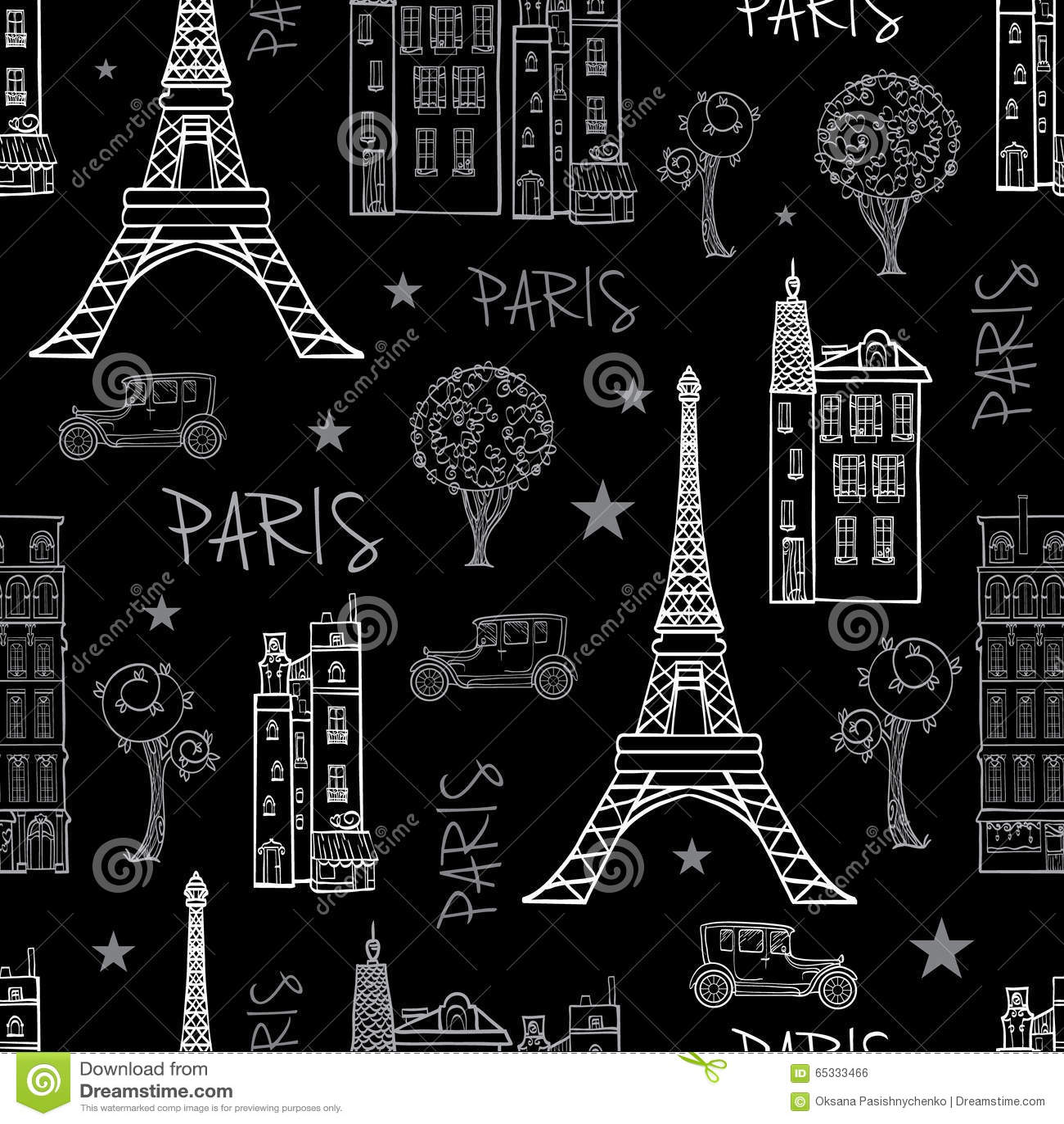A Paris Apartment And A Paris Graphic: Vector Black White Paris Streets Travel Seamless Stock