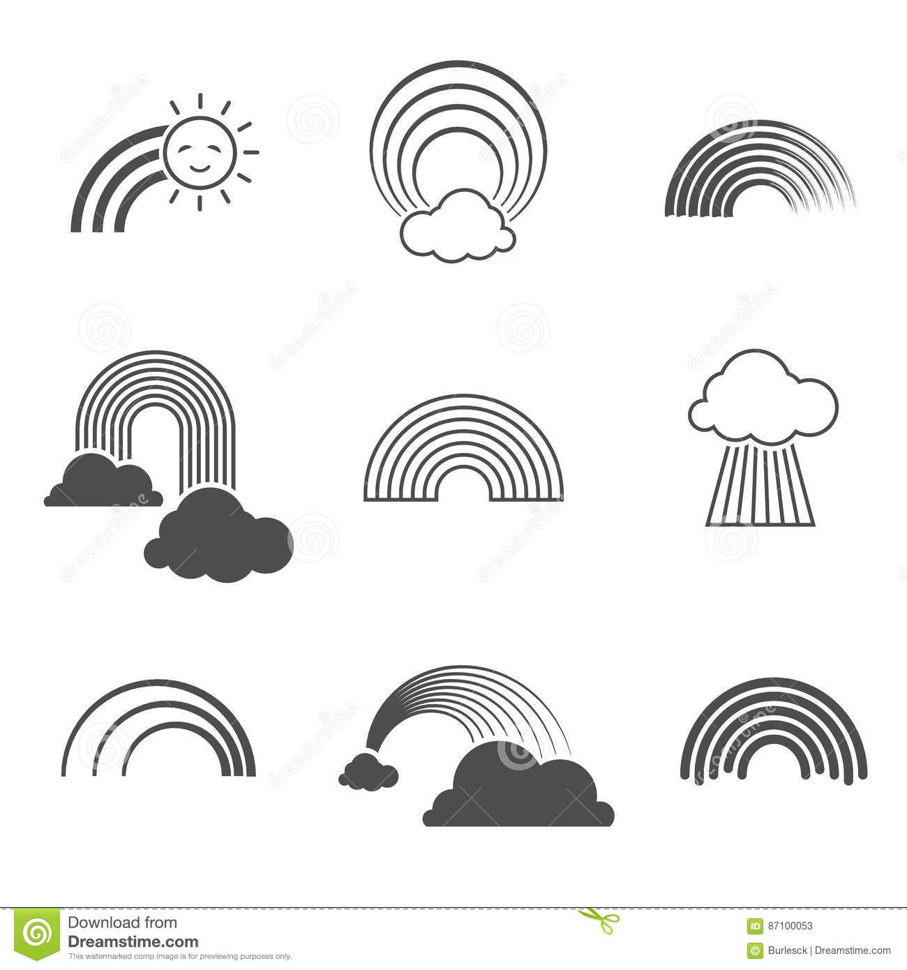 Vector black and white rainbow icons. Summer rainbows signs isolated on background