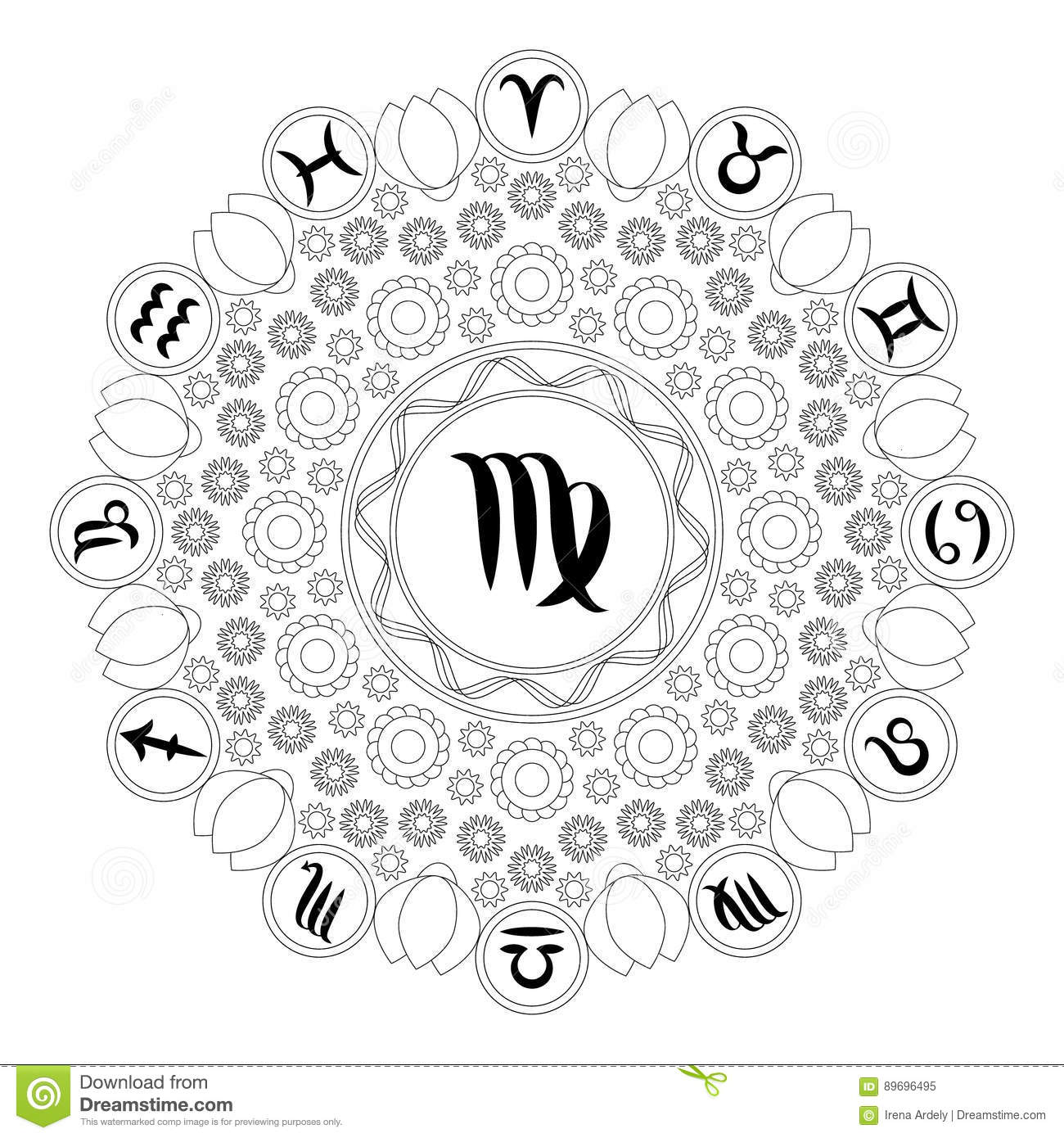 Vector black and white round mandala with zodiac symbol of virgo vector black and white round mandala with zodiac symbol of virgo adult coloring book page buycottarizona Gallery