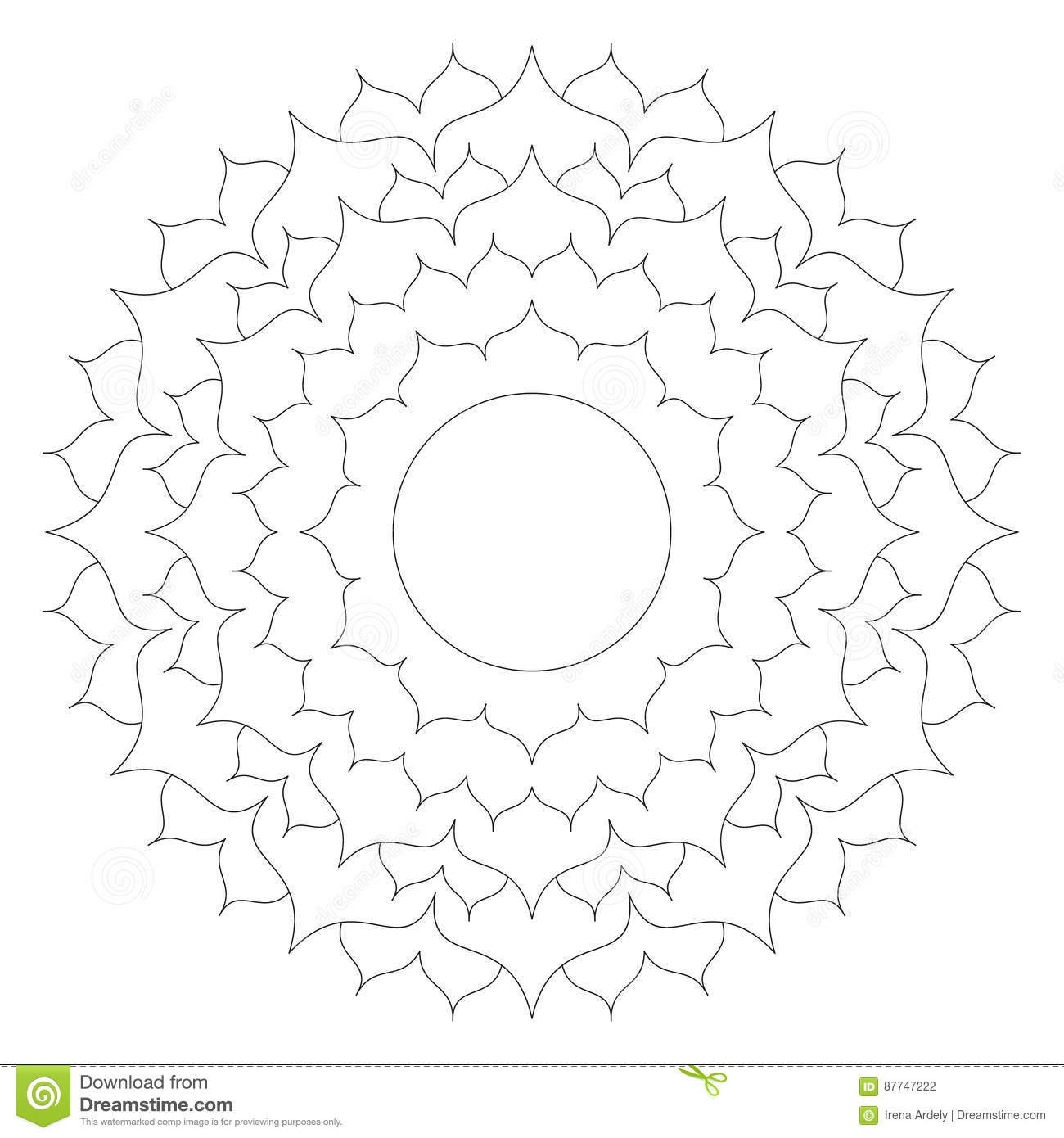 Download Vector Black White Round Simple Mandala Lotus Flower