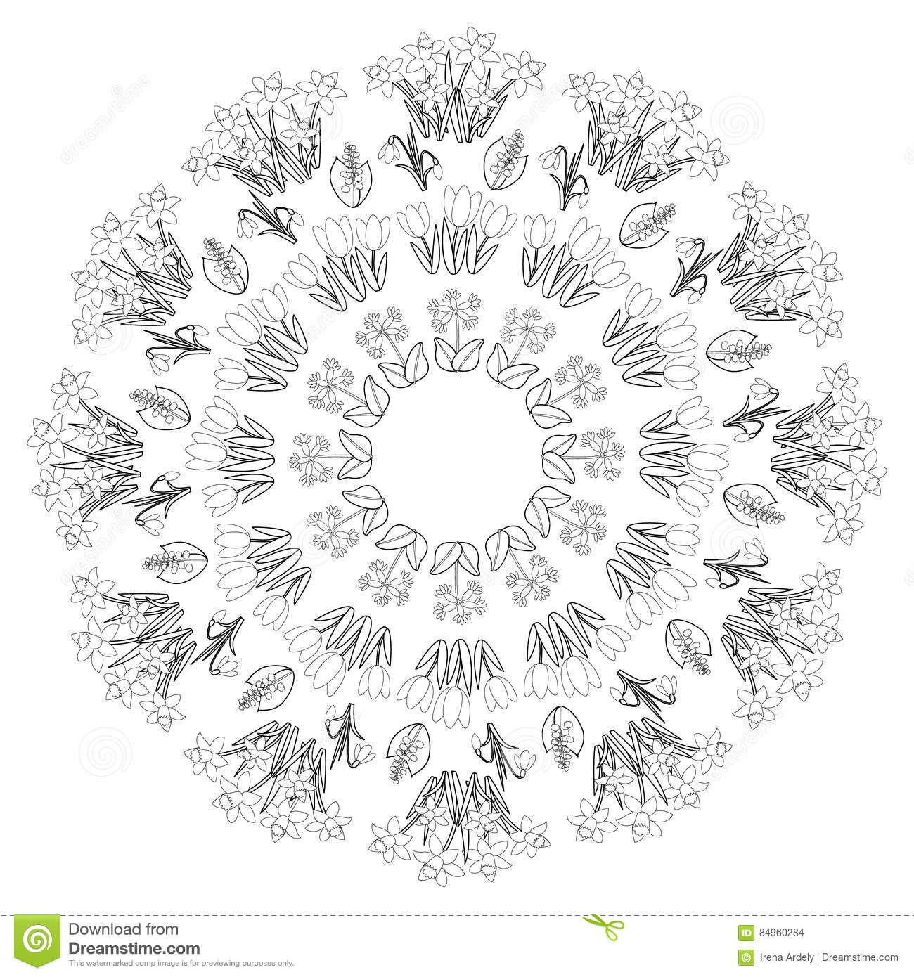 Download Vector Black White Round Spring Floral Mandala
