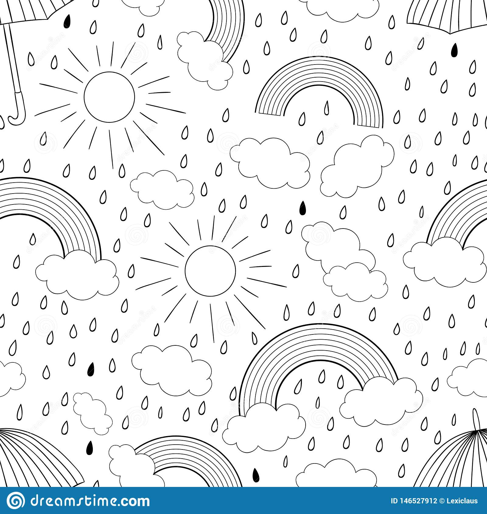 Vector black and white seamless pattern with rainbow