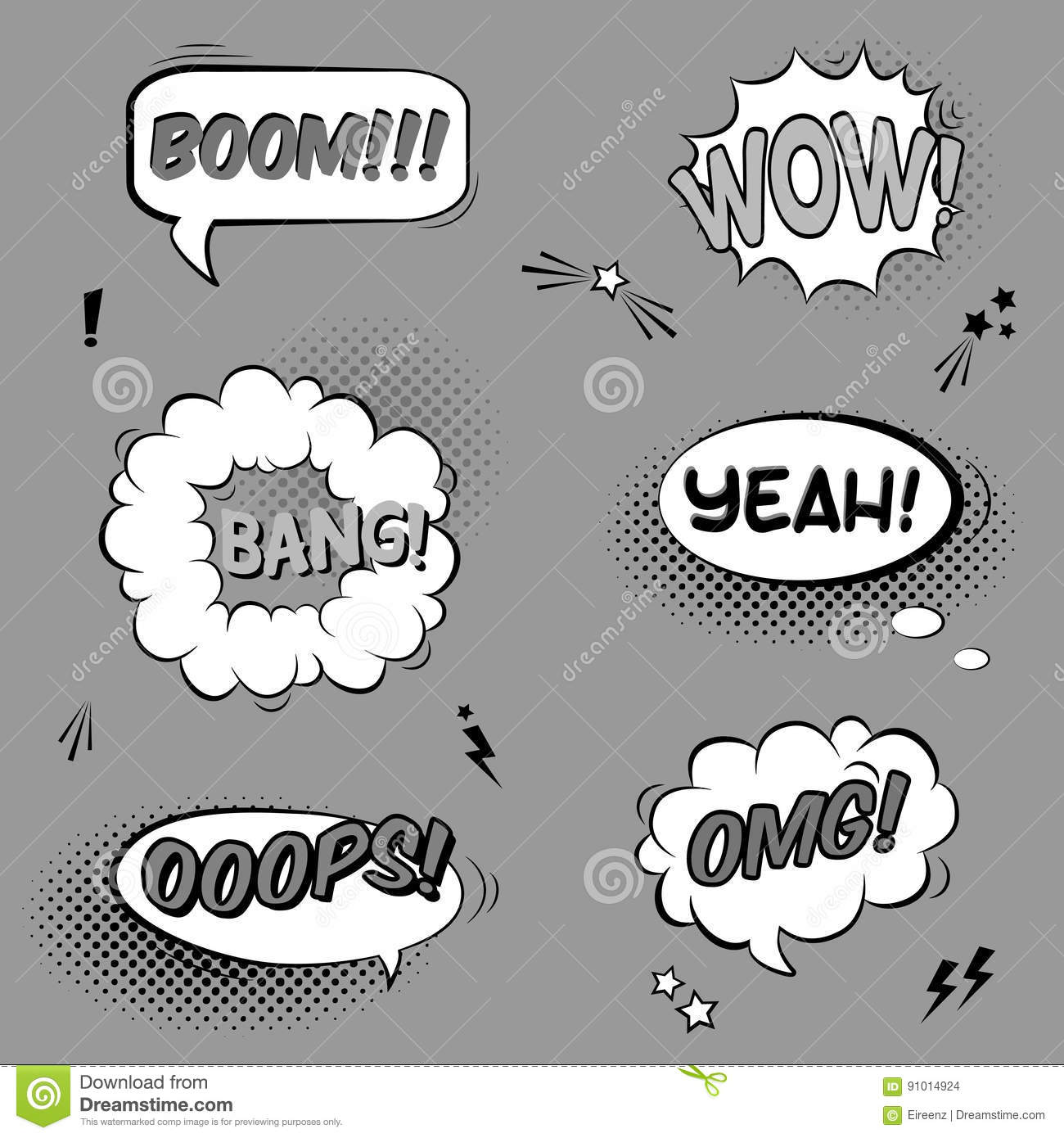 vector black and white set with comic speech bubbles with sound
