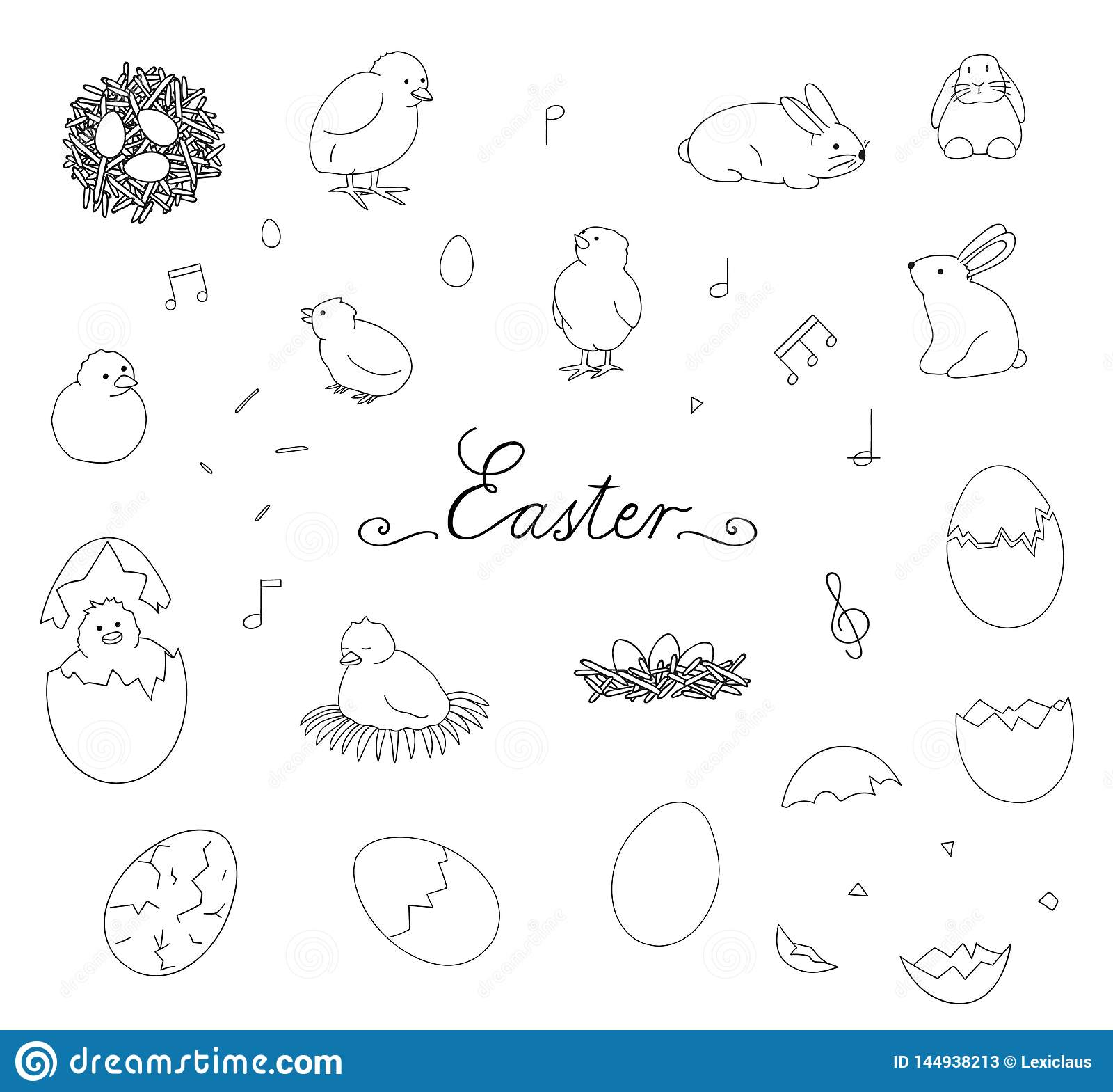 Vector black and white set of Easter elements