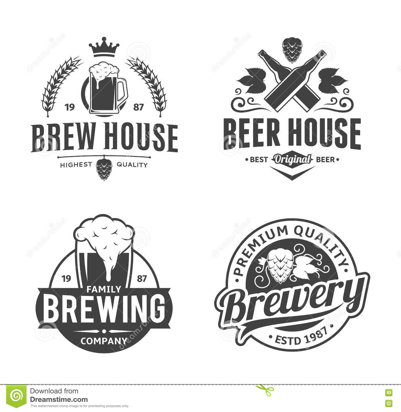 Vector black and white vintage beer logo, icons and design elements