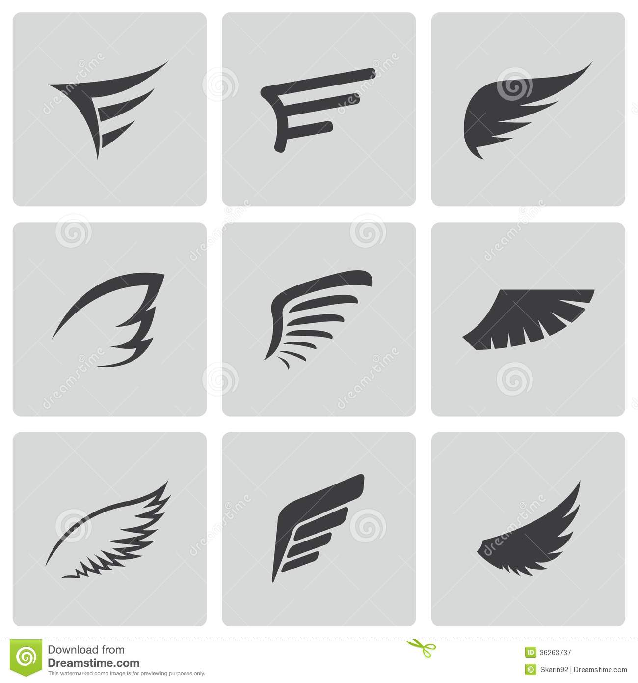 vector black wing icons set stock vector illustration of identity