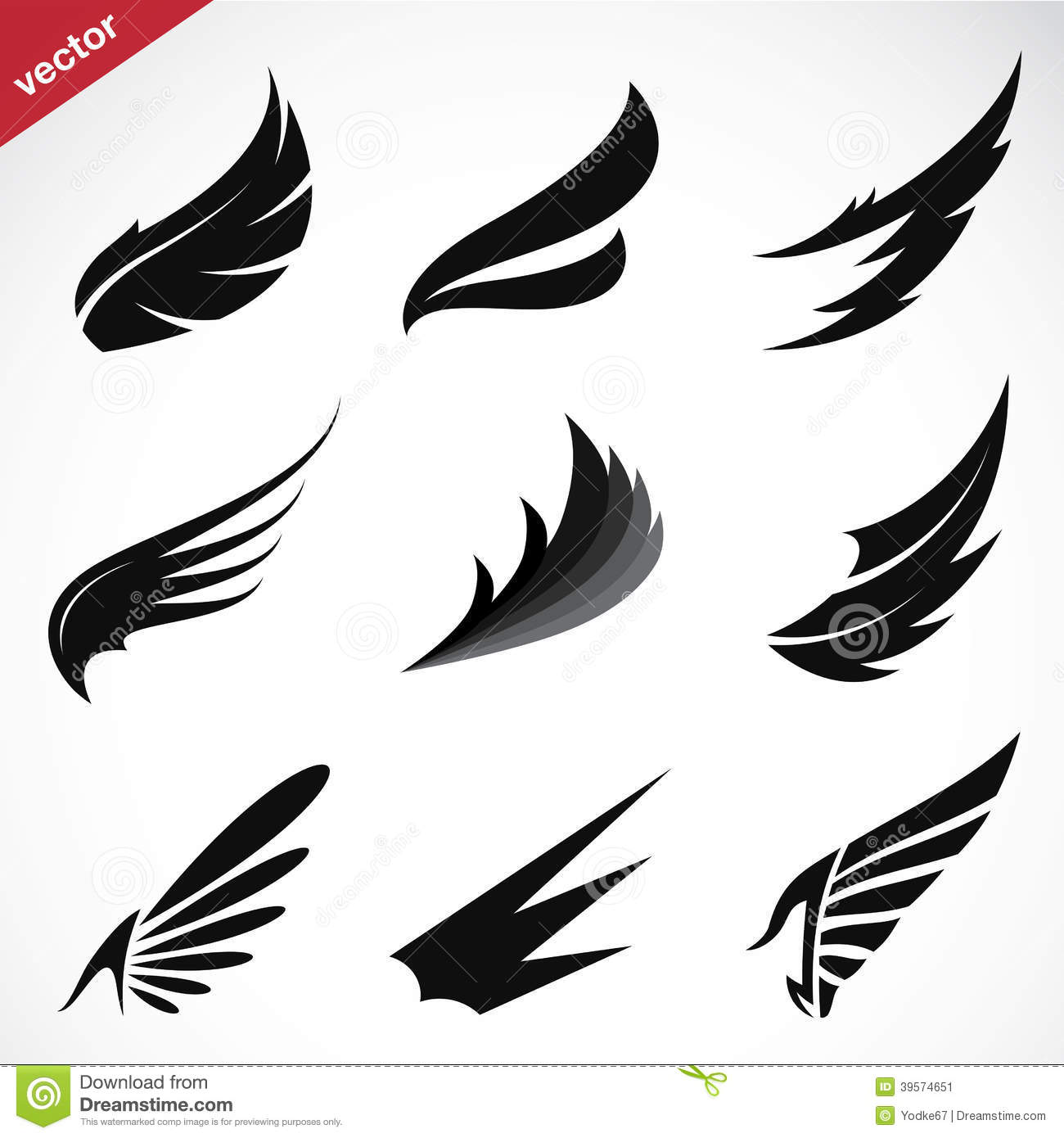 Vector Black Wing Icons Set Stock Vector Image 39574651