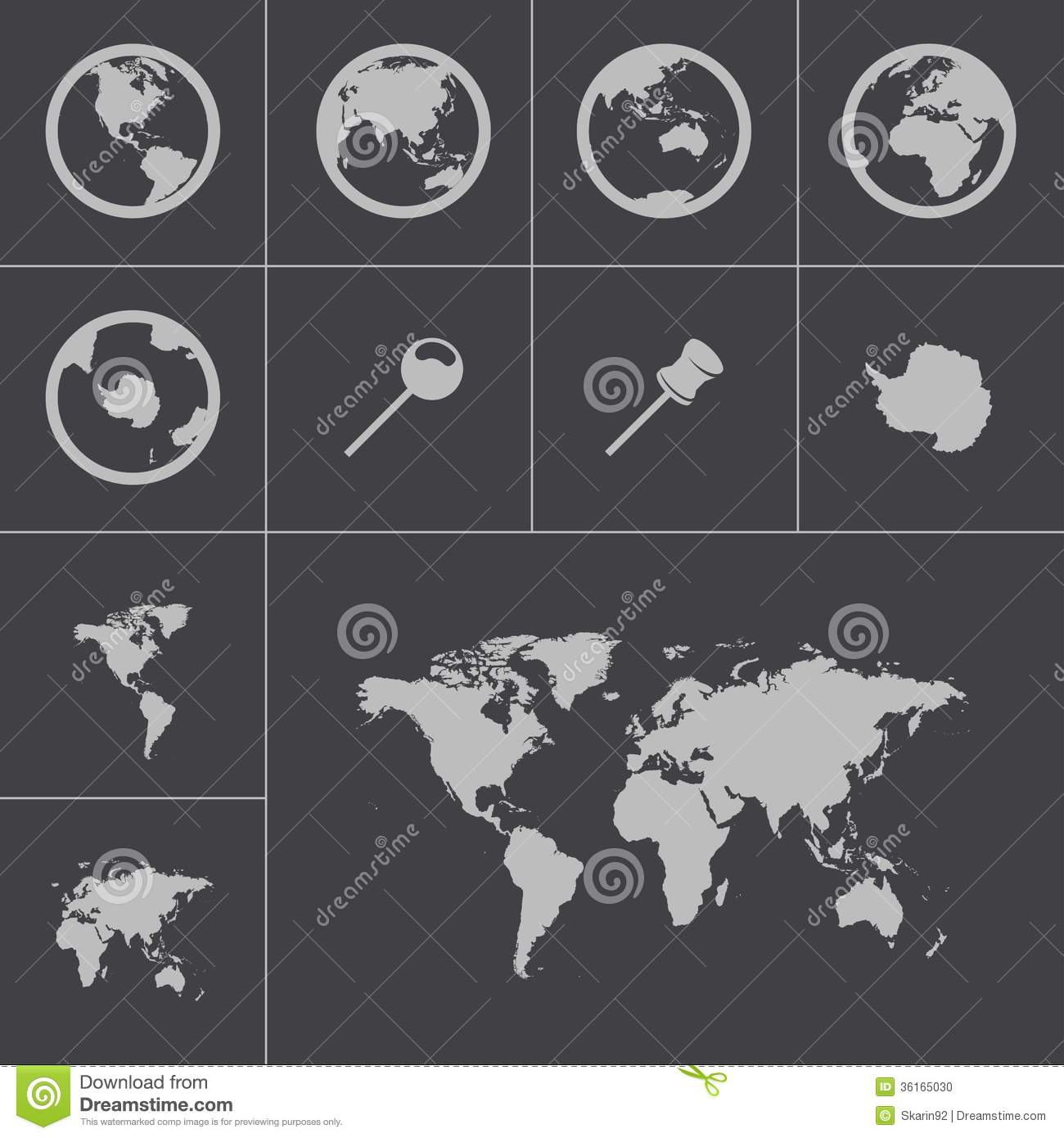 Vector black world map icons set stock vector illustration of sign vector black world map icons set gumiabroncs Choice Image