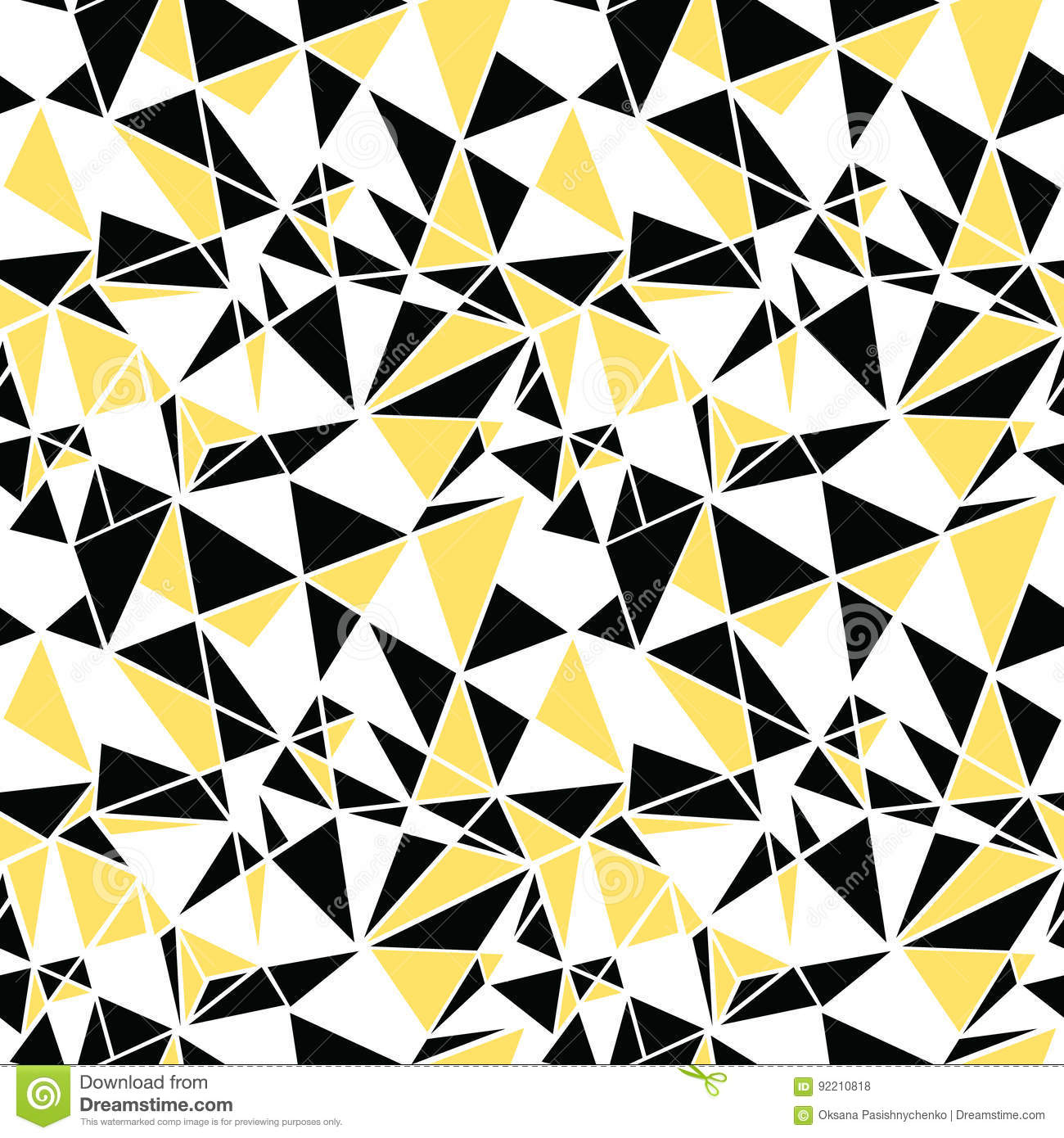 Vector black and yellow triangles abstract seamless repeat pattern design.  Great for modern fabric, wallpaper