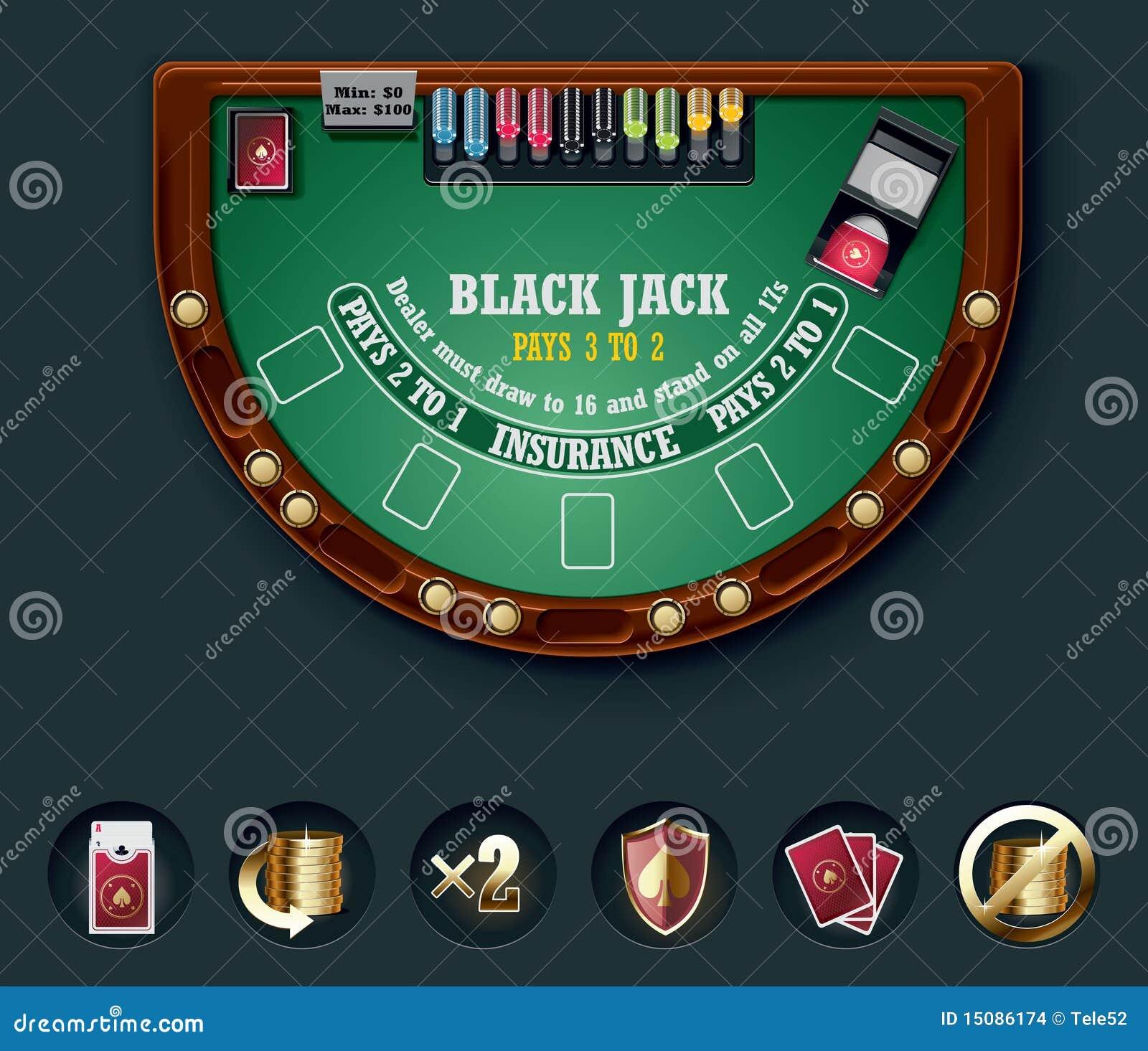 Blackjack table top view - Royalty Free Stock Photo