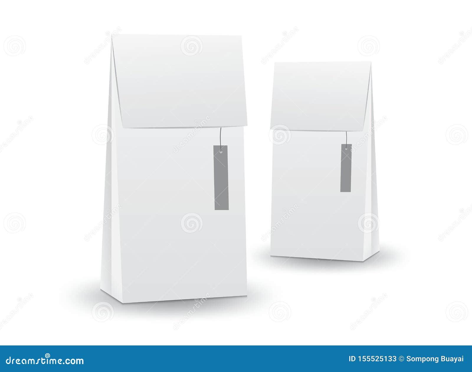 Vector blanco de la caja del paquete, diseño de paquete, caja 3d, diseño de producto, empaquetado realista para la bebida y comid