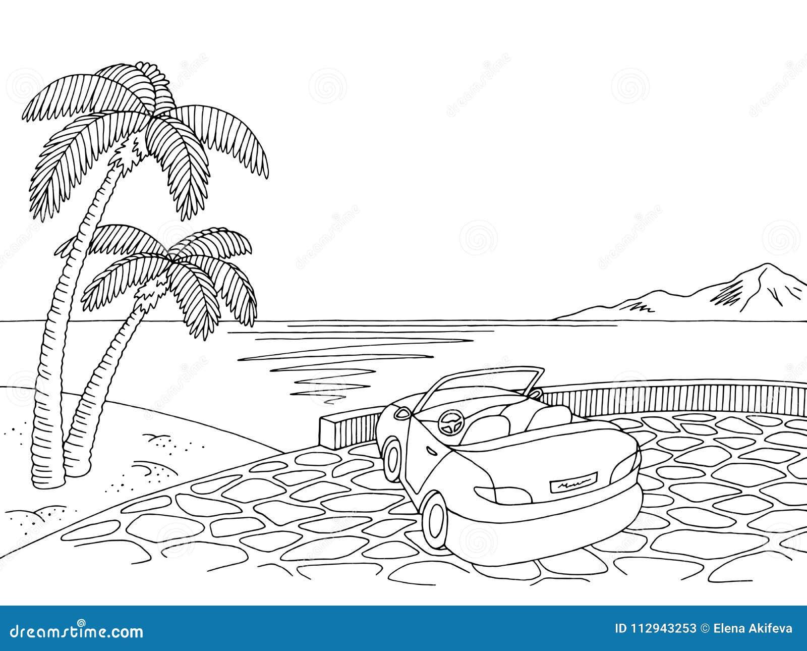 Vector blanco negro gráfico del ejemplo del bosquejo del paisaje del cabriolé de la costa de mar