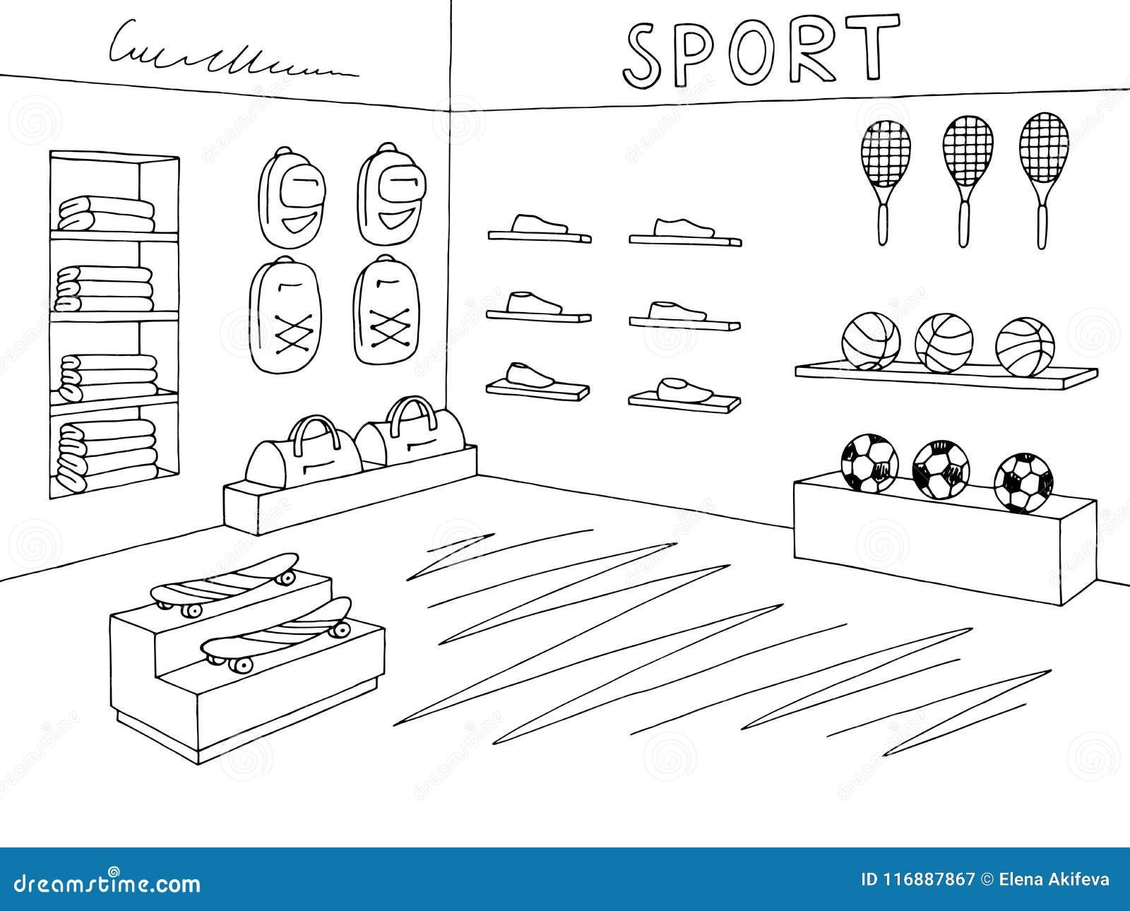 Vector Blanco Negro Interior Grafico Del Ejemplo Del Bosquejo De La Tienda De La Tienda Del Deporte Ilustracion Del Vector Ilustracion De Plano Garabato 116887867