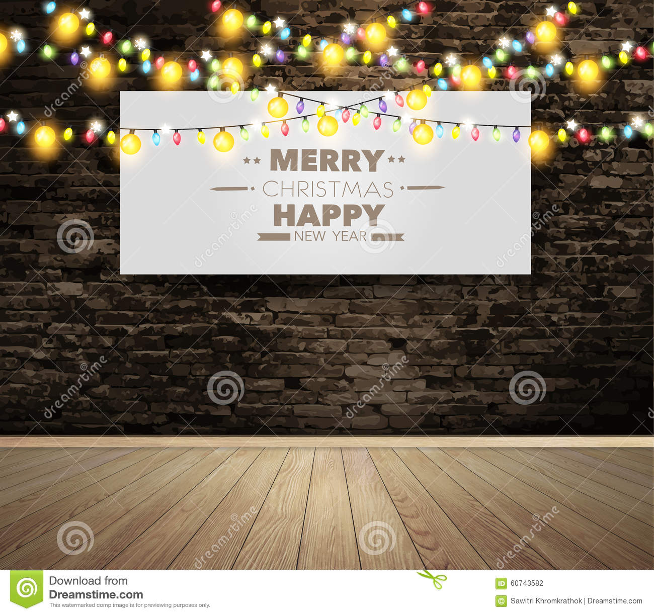 Christmas Room Stock Vector Image Of Illuminated: Vector Blank Billboard Or Poster On Wall Room With