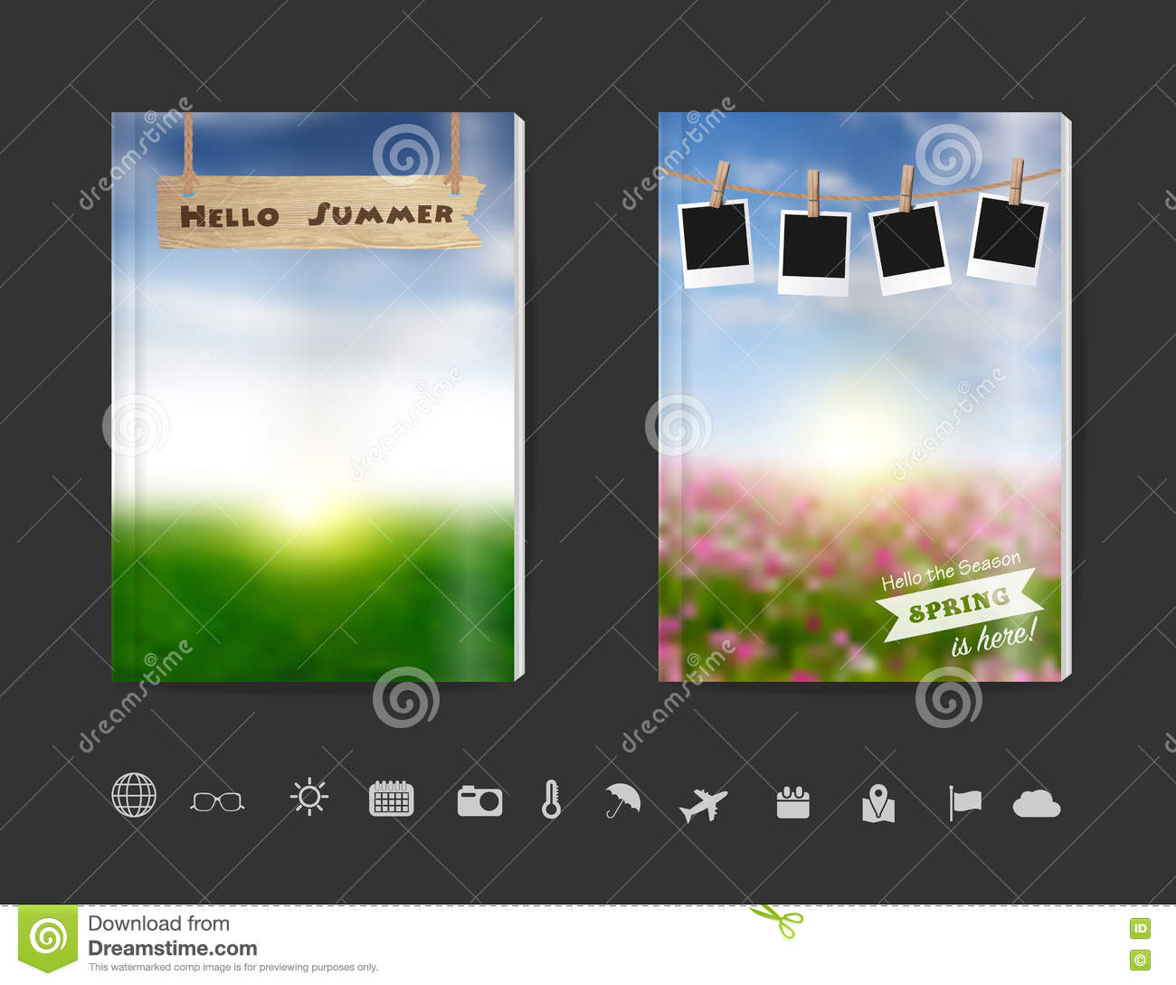 Nature Book Cover Design ~ Vector blank book cover design with blurred nature sky