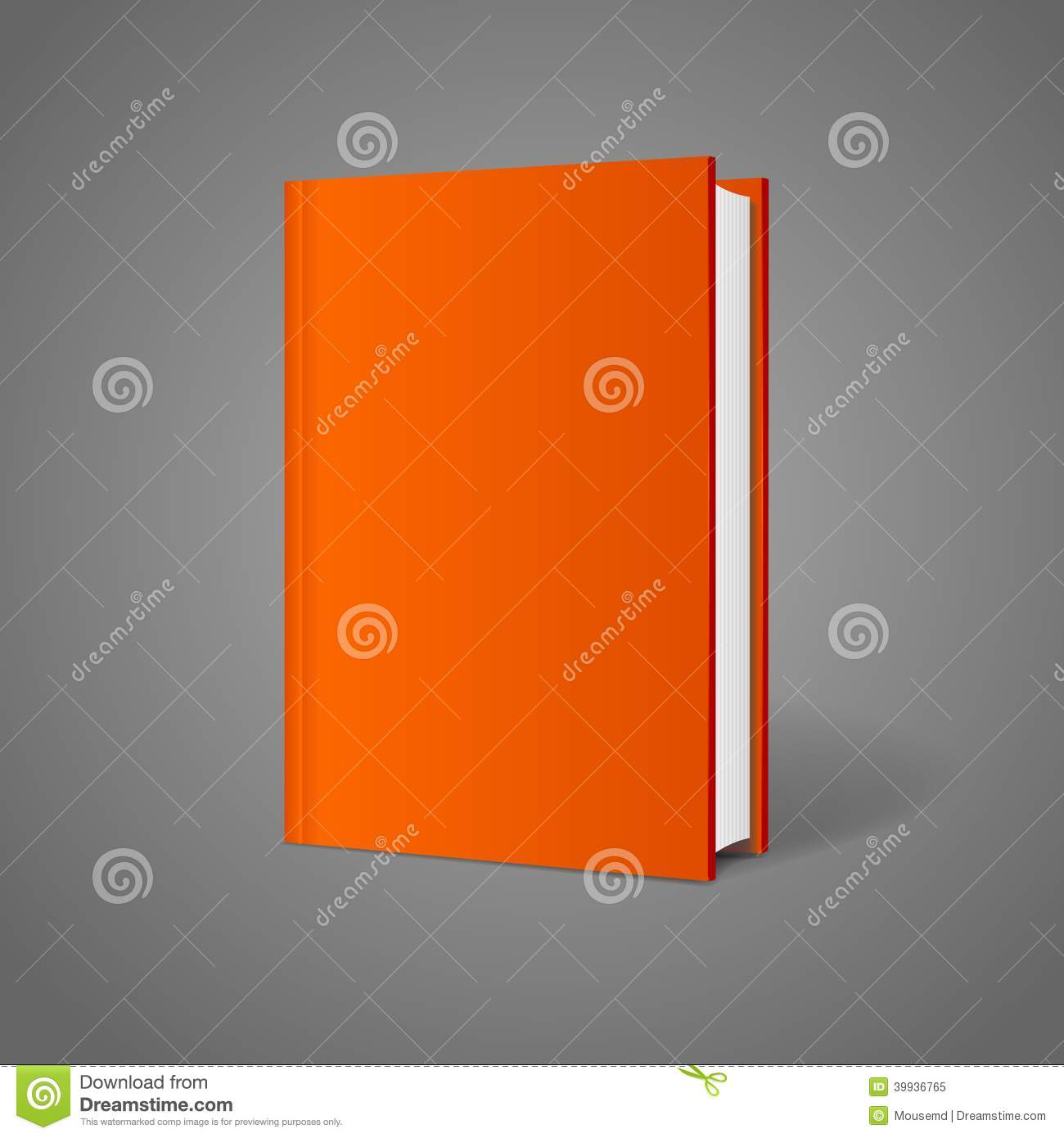 Blank Book Cover Vector Illustration Free ~ Vector blank book cover perspective orange stock