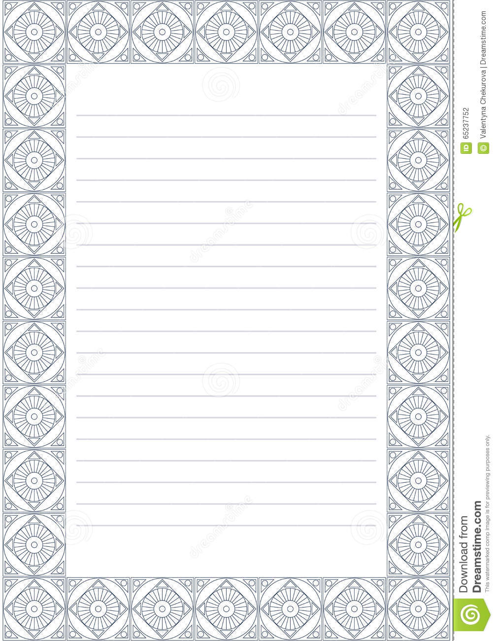 ... paper form with pastel blue decorative ornamental border. A4 format