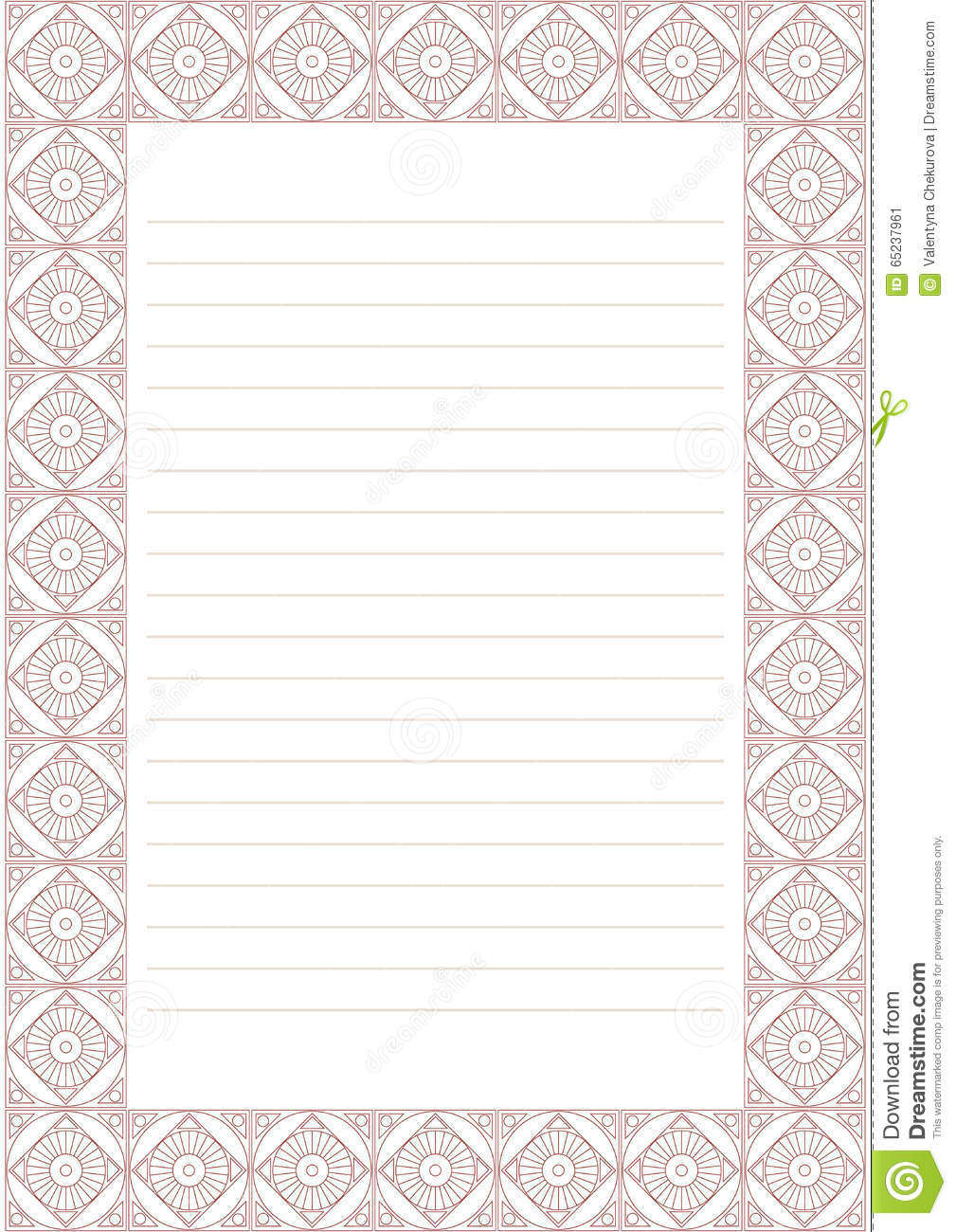 vector blank for letter card or charter white paper form with pastel red decorative ornamental border a4 format size