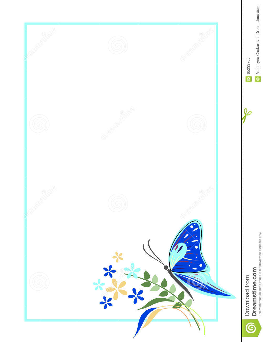 vector blank for letter or greeting card blue form with frame butterfly and flowers a4 format