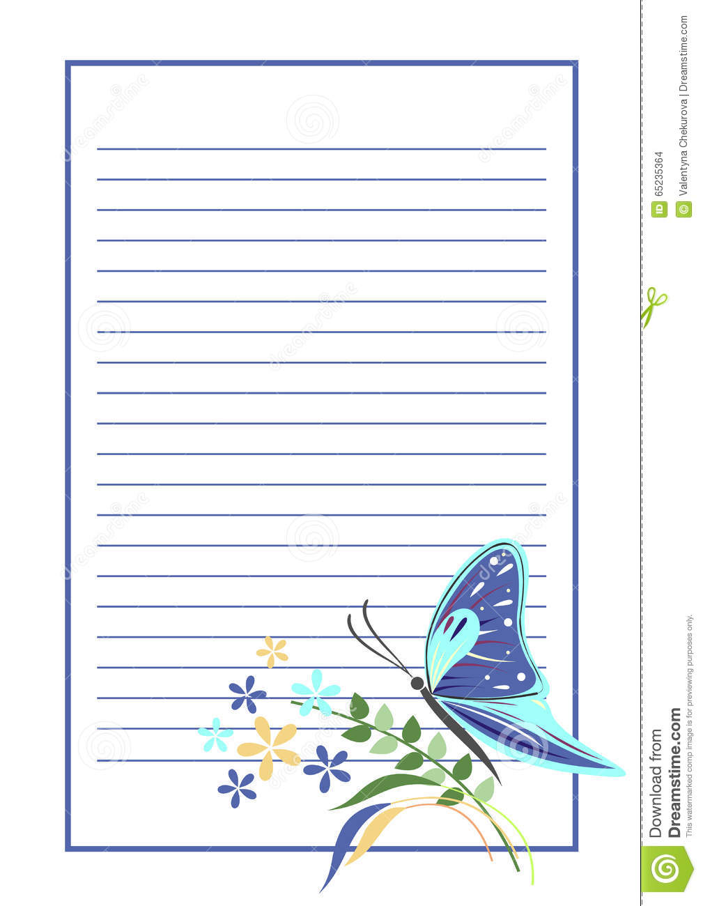 Vector Blank For Letter Or Greeting Card Blue Form With