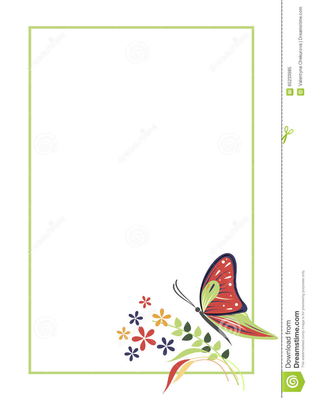 Vector Blank For Letter Or Greeting Card. Form With Frame, Butterfly ...