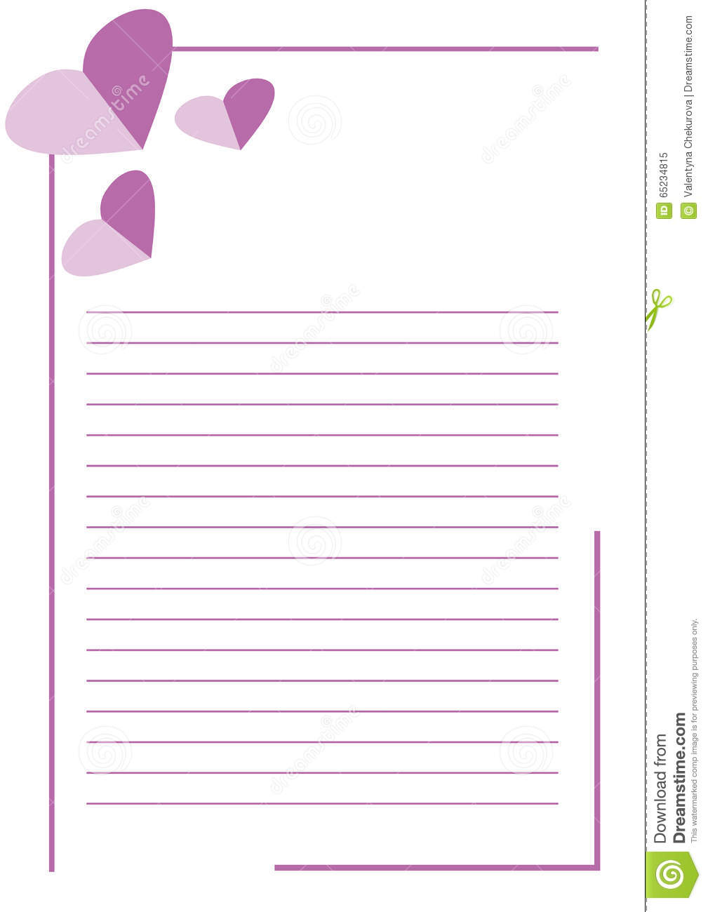 vector blank for letter or greeting card white paper form with pink hearts lines and border a4 format size