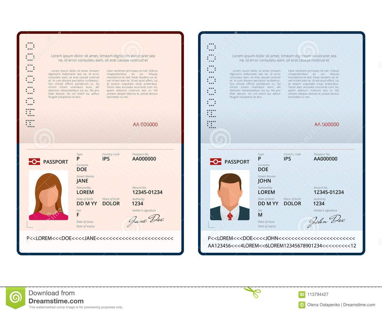 Vector Blank Open Passport Template. International Passport With ...