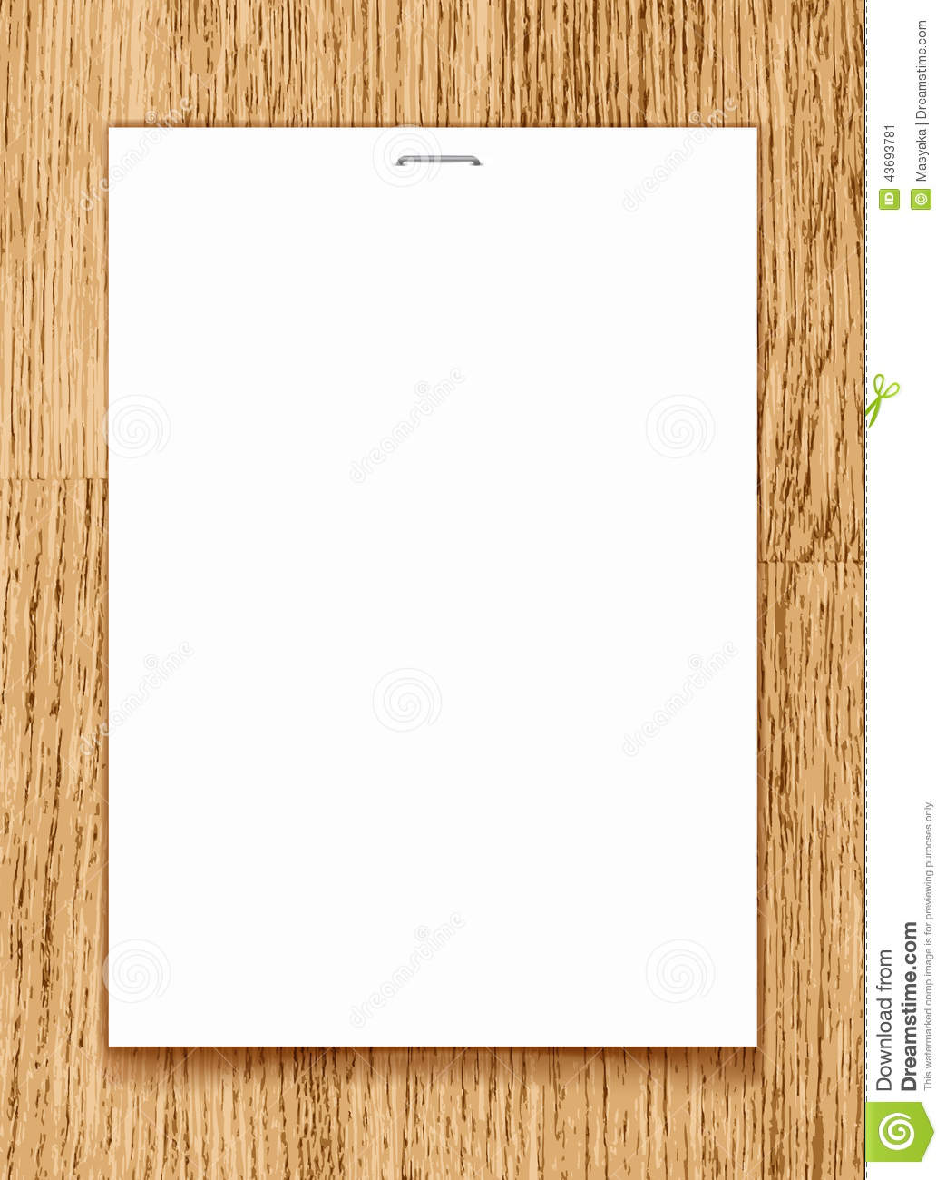 Vector Blank Paper A4 Sheet On Wooden Background Stock