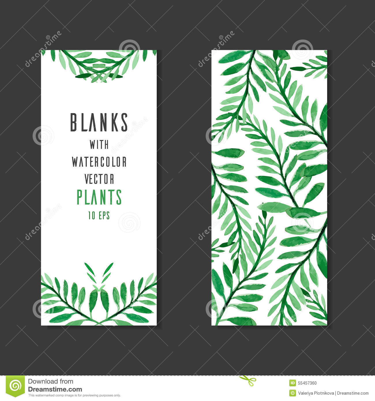 Vector blank with place for text, and the reverse side with watercolor plants