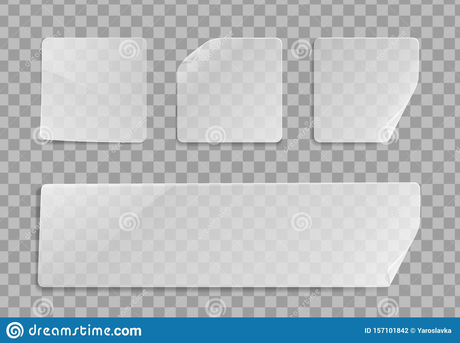 Vector Blank Transparent Plastic Square Adhesive Sticker Mock Up With Curved Corner  Empty