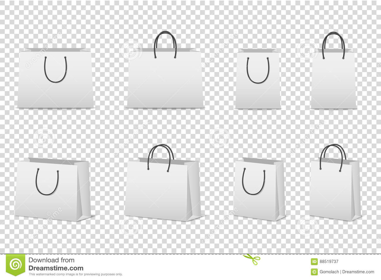 vector blank white paper bag set isolated design template for