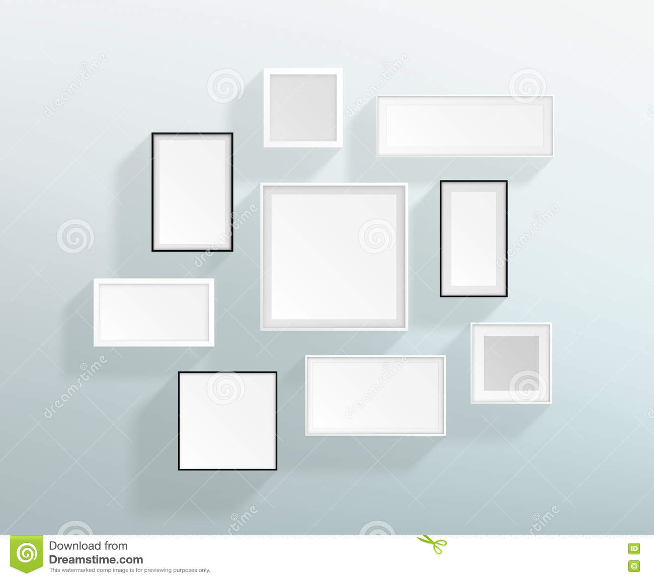 Vector Blank White Realistic Frames On A Wall Design Stock Vector