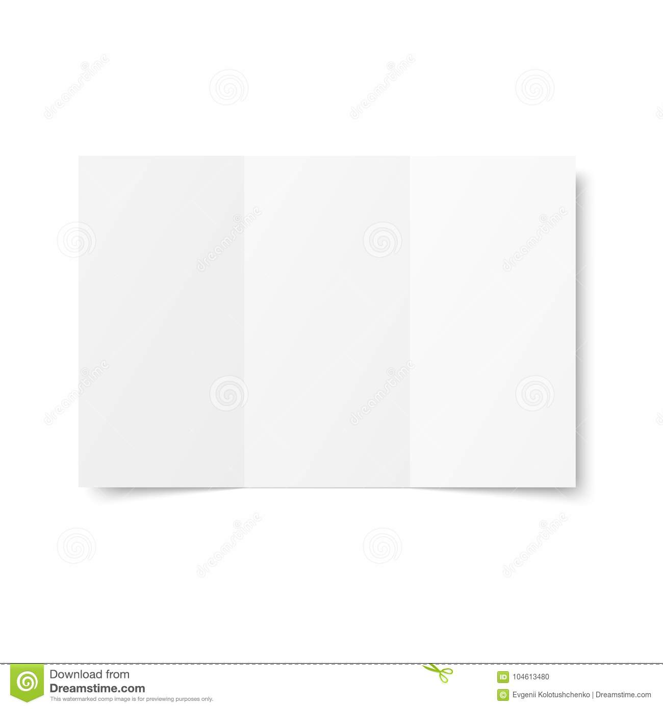 vector blank white trifold booklet opened on white background front side tri folded paper sheet in a4 mock up of empty cover or flyer isolated