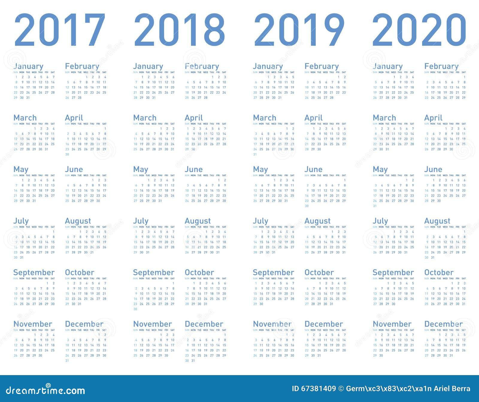 vector blauen kalender jahrelang 2017 2018 2019 und 2020 vektor abbildung illustration von. Black Bedroom Furniture Sets. Home Design Ideas