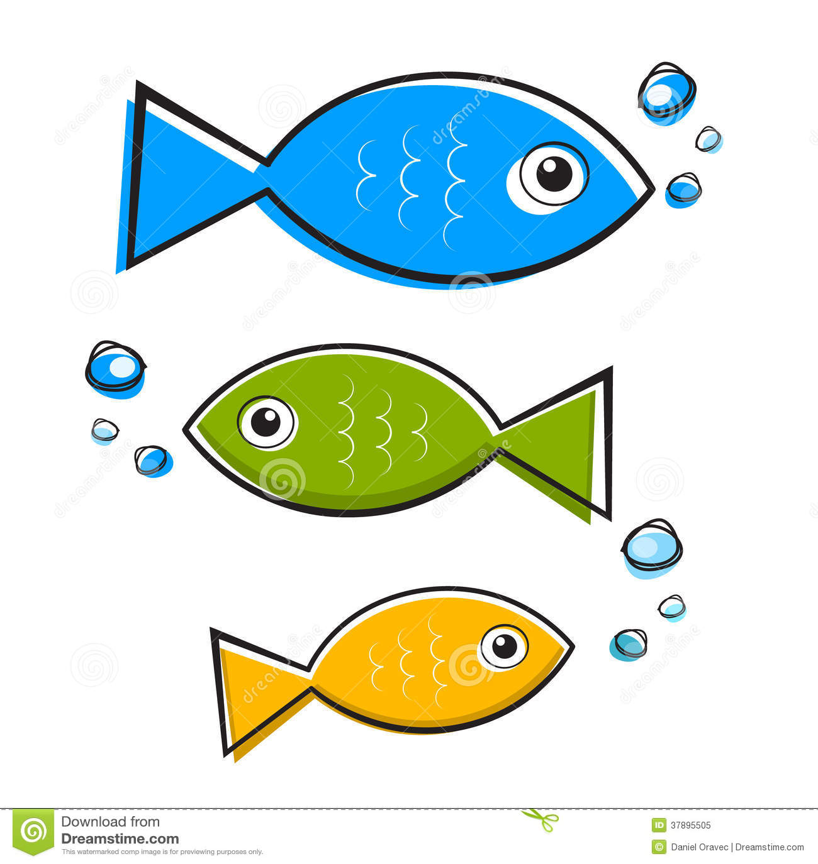 Vector Blauwe, Groene en Oranje Vissenreeks
