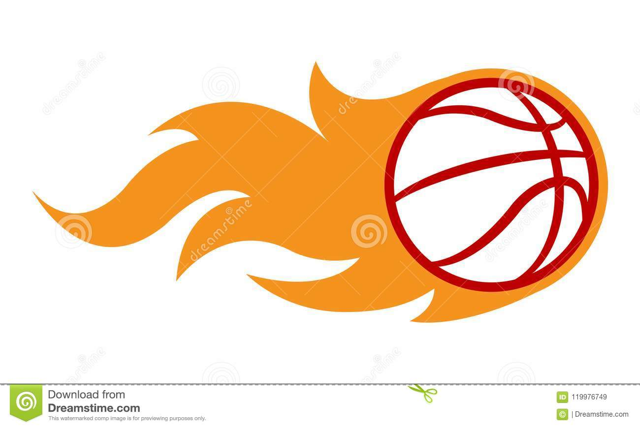 Vector Blazing Basketball Ball With Classic Muscle Car Flames Stock