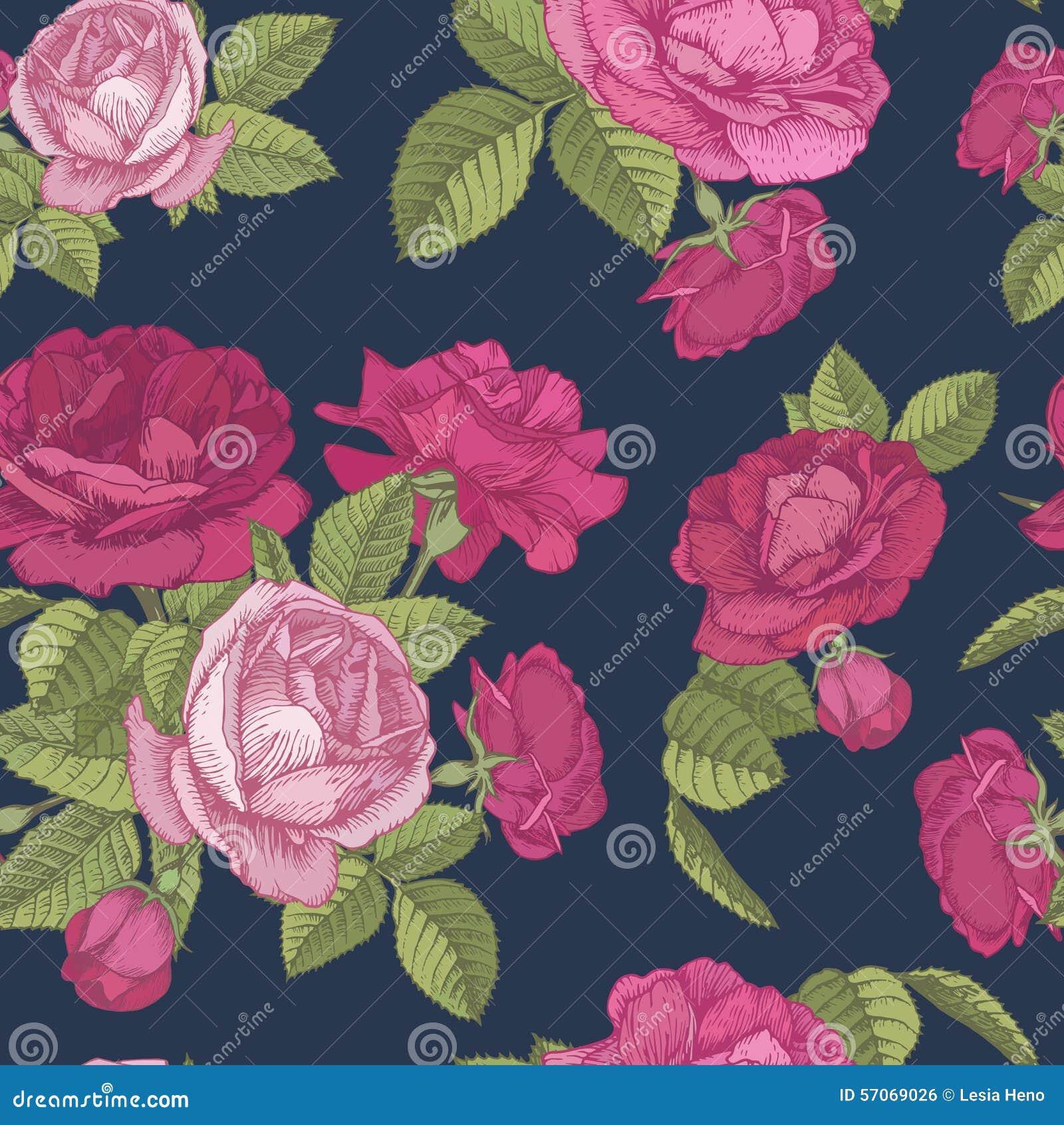 Vector bloemen naadloos patroon met boeketten van rode en roze rozen op donkerblauwe achtergrond