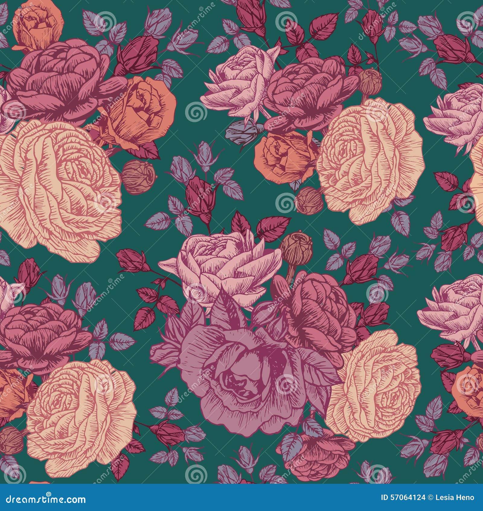 Vector bloemen naadloos patroon met rozen en Perzische boterbloem
