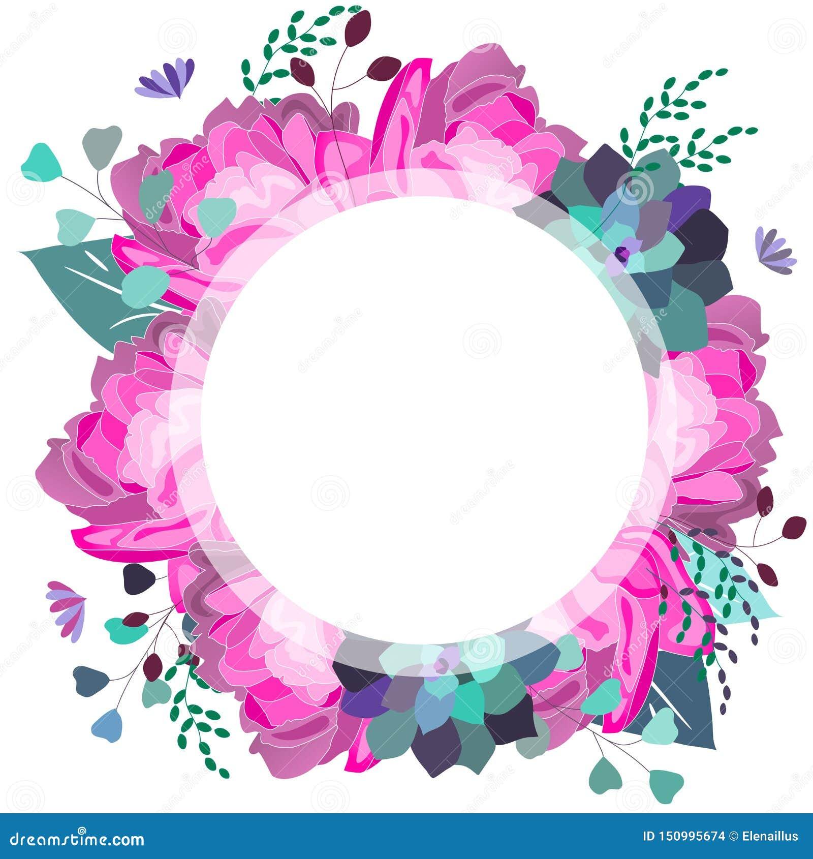 Vector bloemenkader met roze en violette succulente pioen, bladeren In de zomerontwerp