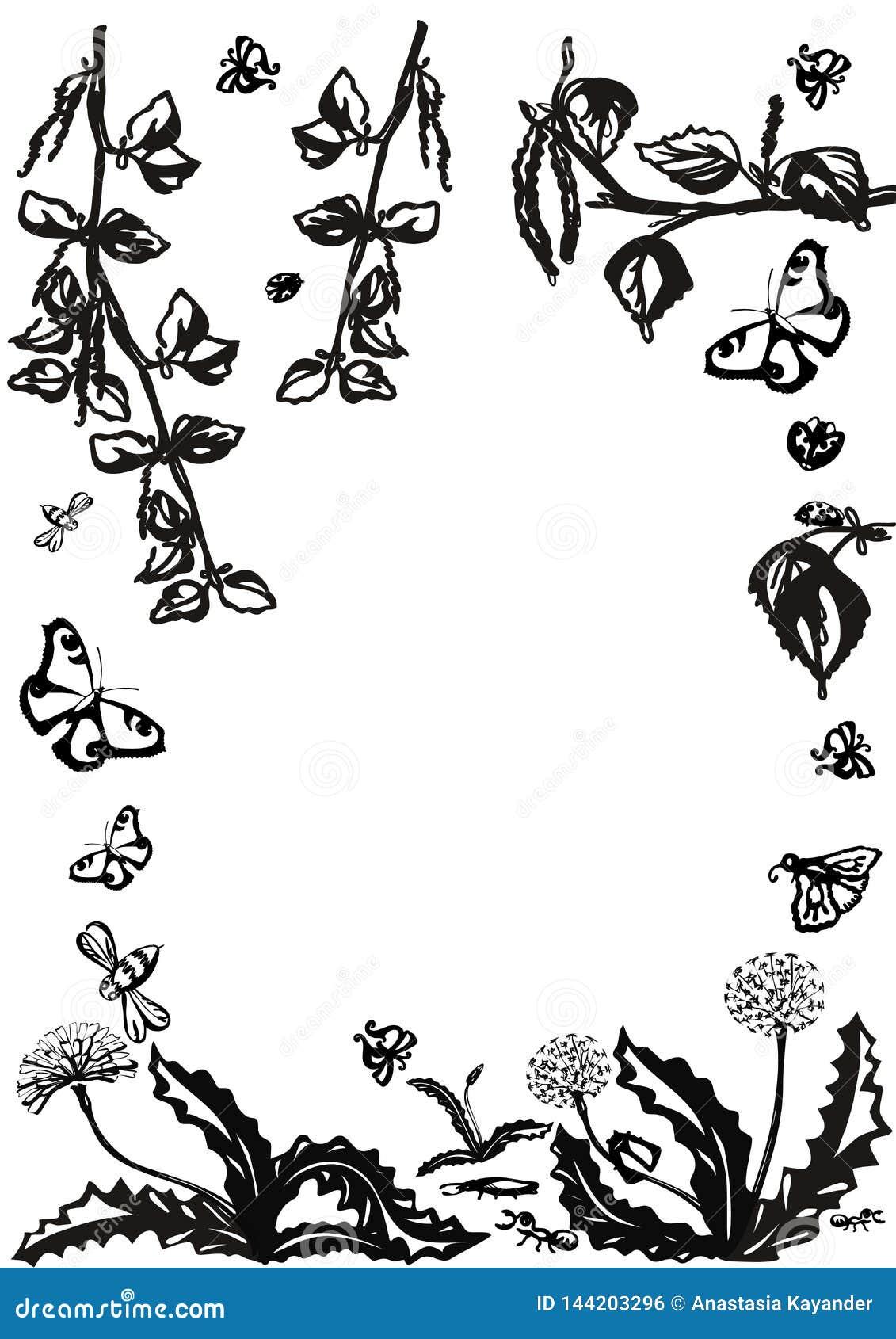 Vector bloemenreeks Grafische inzameling met bladeren en bloemen, die elementen trekken E